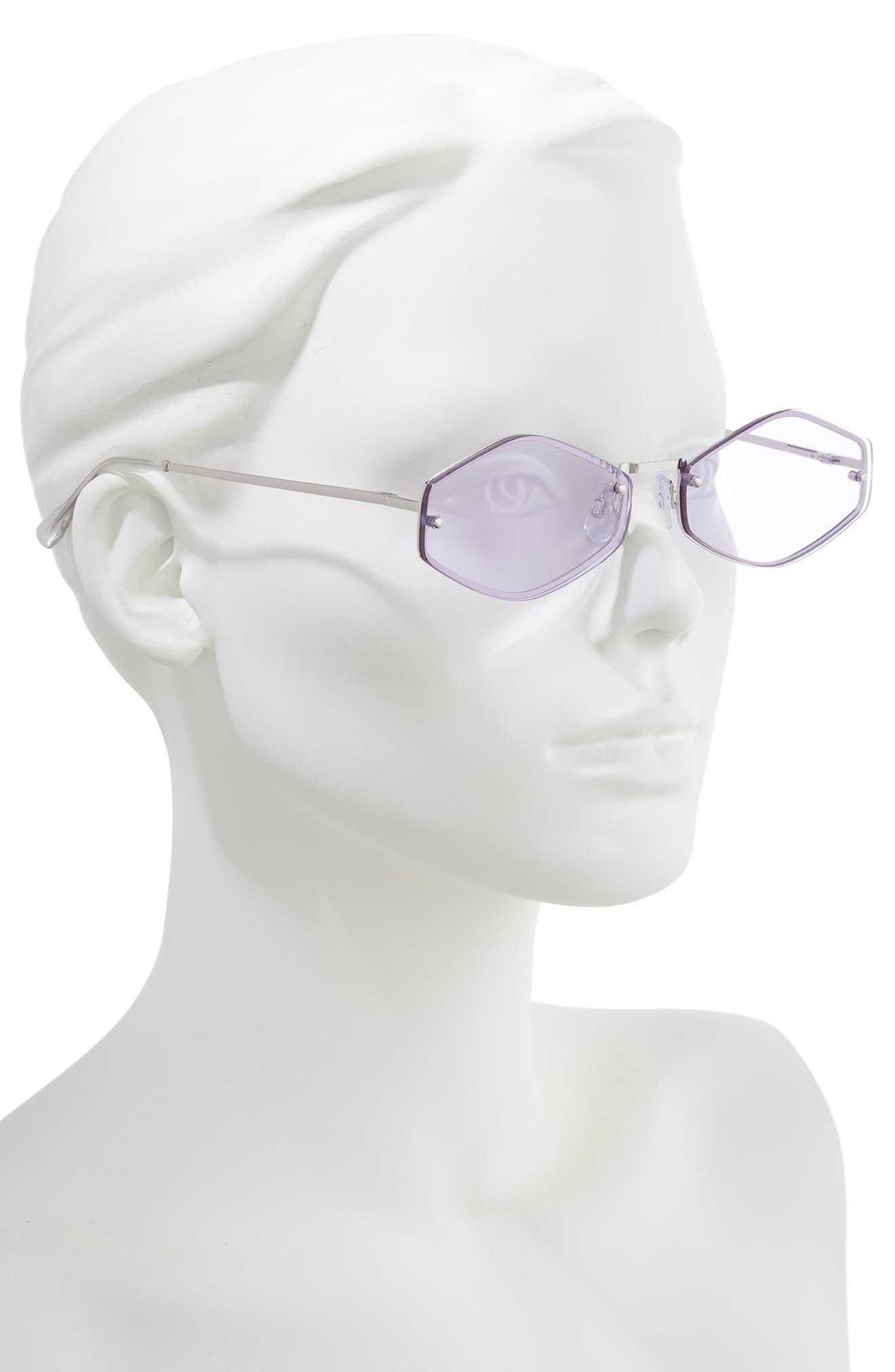 LEITH, 62mm Rimless Geometric Sunglasses, Alternate thumbnail 2, color, SILVER/ PURPLE