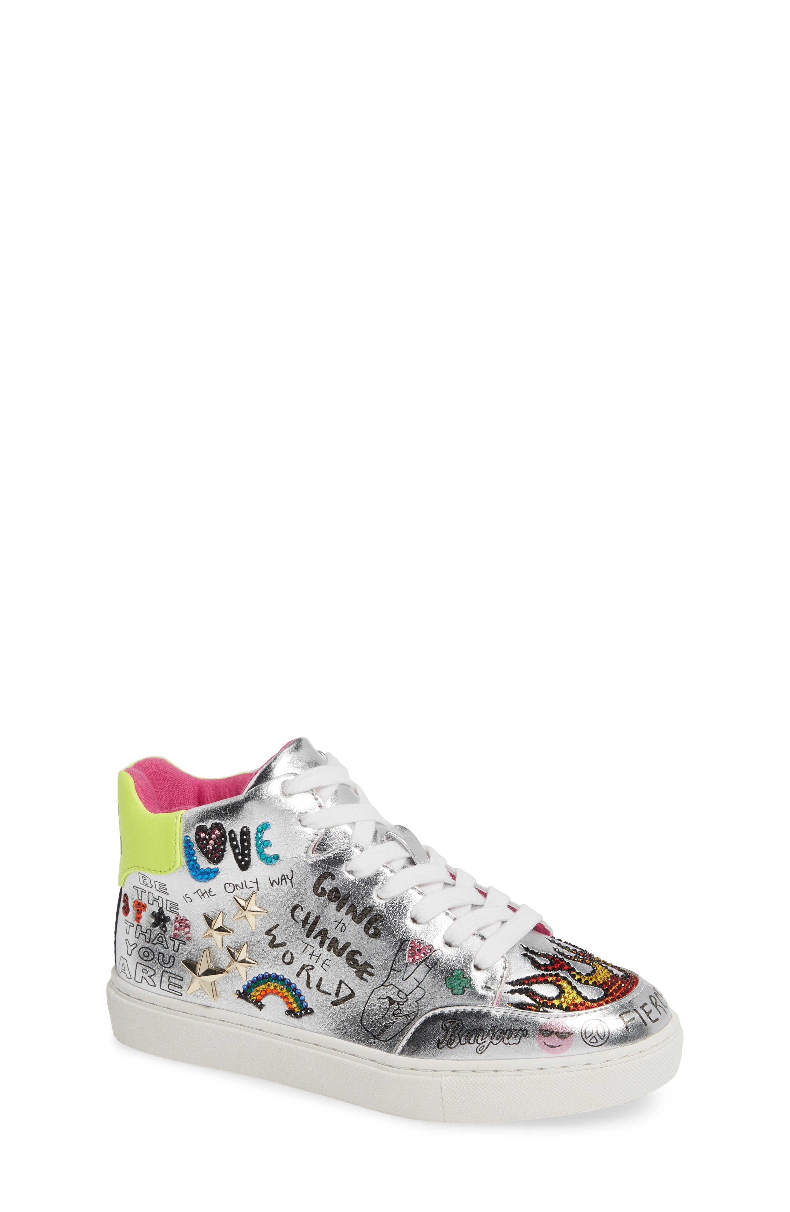 STEVE MADDEN, JPOWER High Top Sneaker, Main thumbnail 1, color, SILVER MULTI