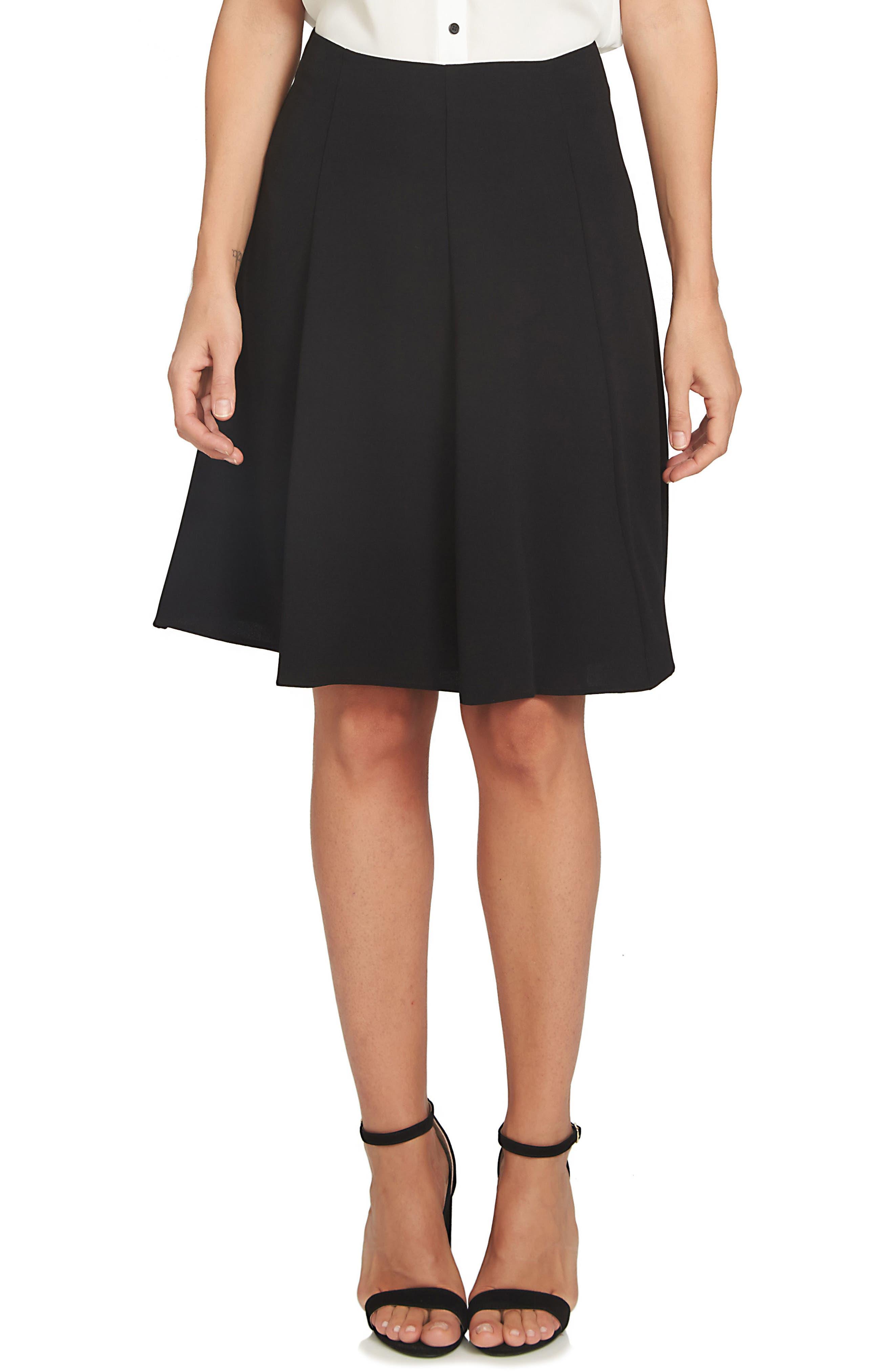 CECE Crepe A-Line Skirt, Main, color, BLACK