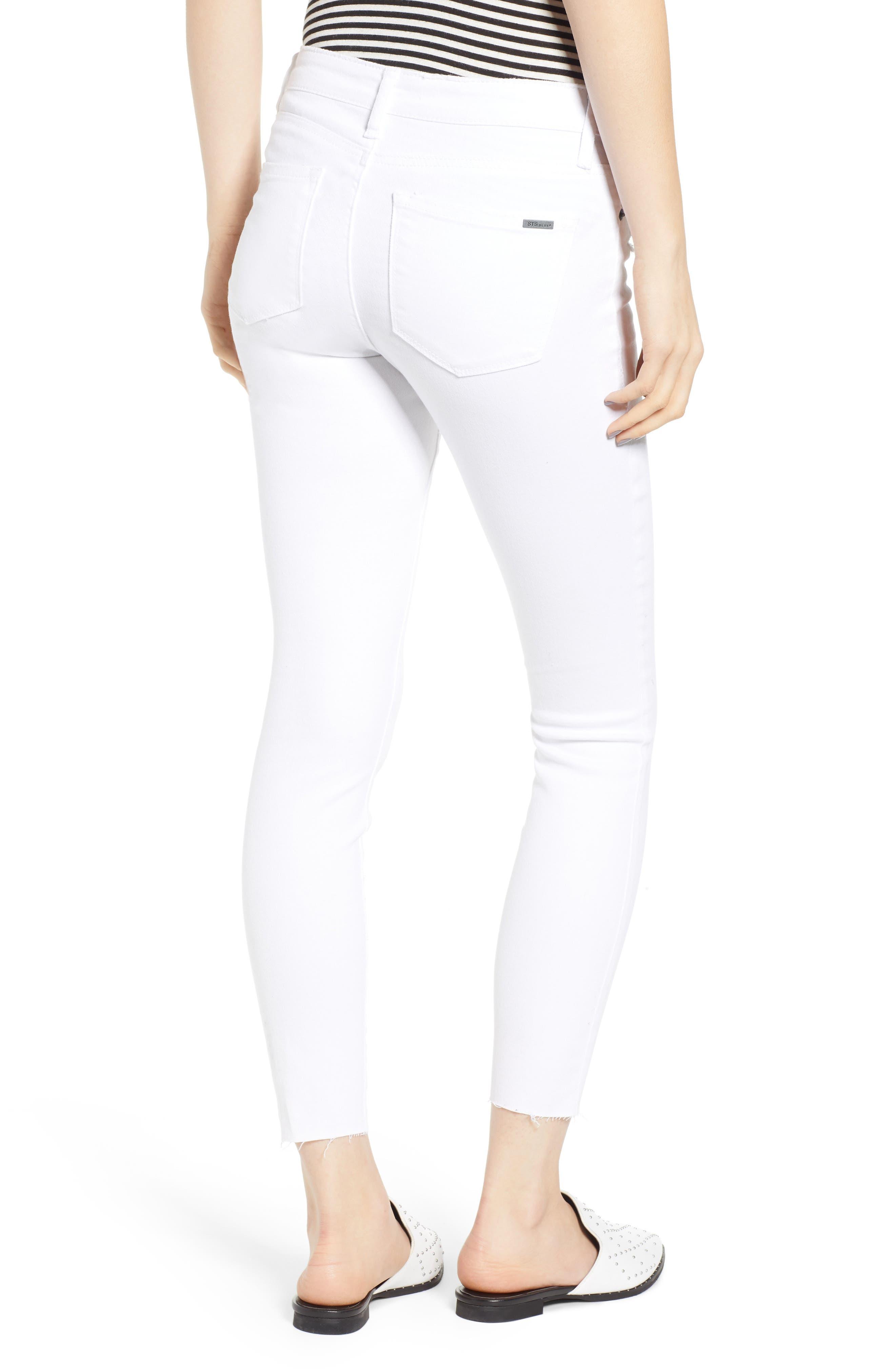 STS BLUE, Emma Cutoff Hem Crop Skinny Jeans, Alternate thumbnail 2, color, OPTIC WHITE