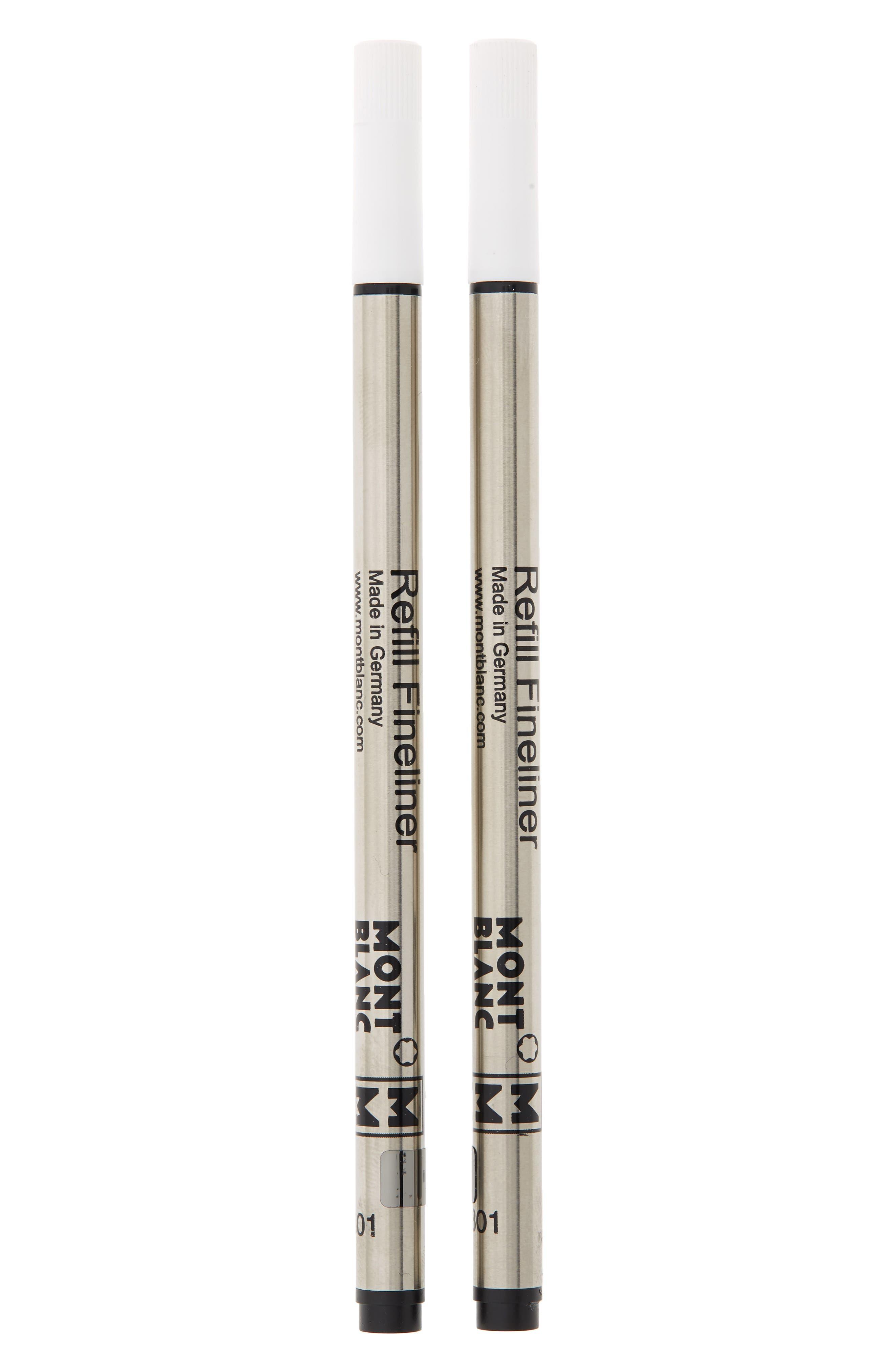 MONTBLANC, 2-Pack Medium Fineliner Refills, Main thumbnail 1, color, MYSTERY BLACK