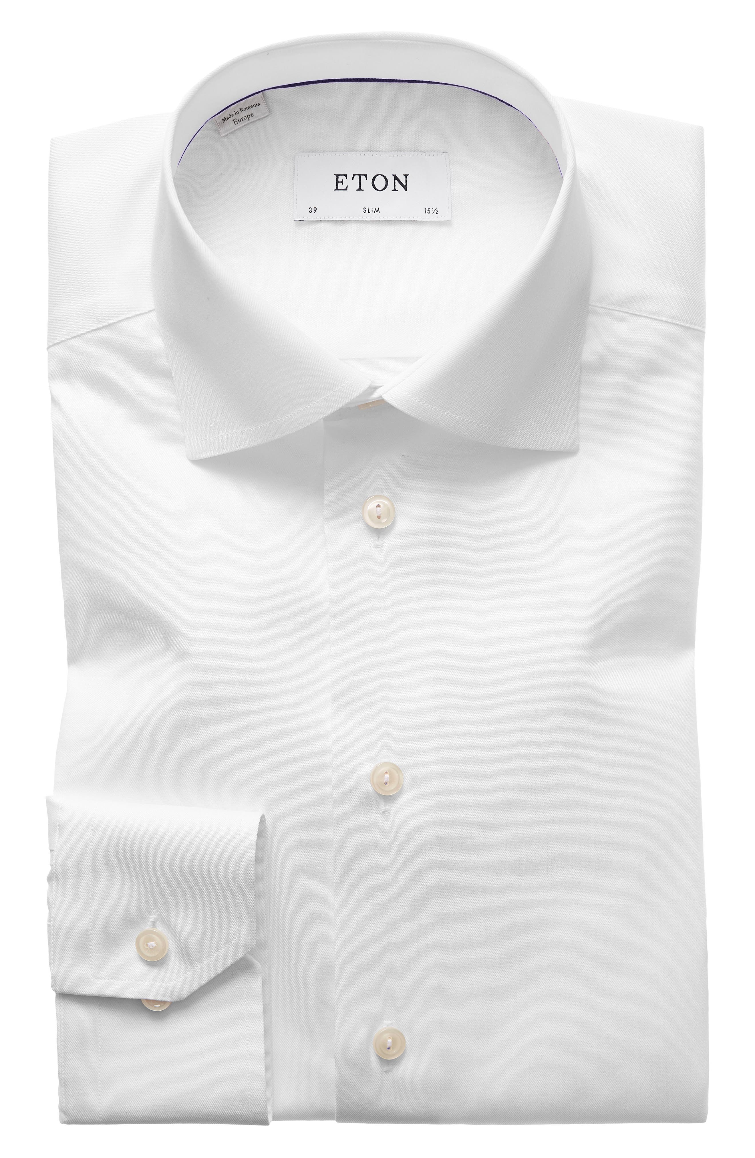 ETON, Slim Fit Twill Dress Shirt, Main thumbnail 1, color, WHITE