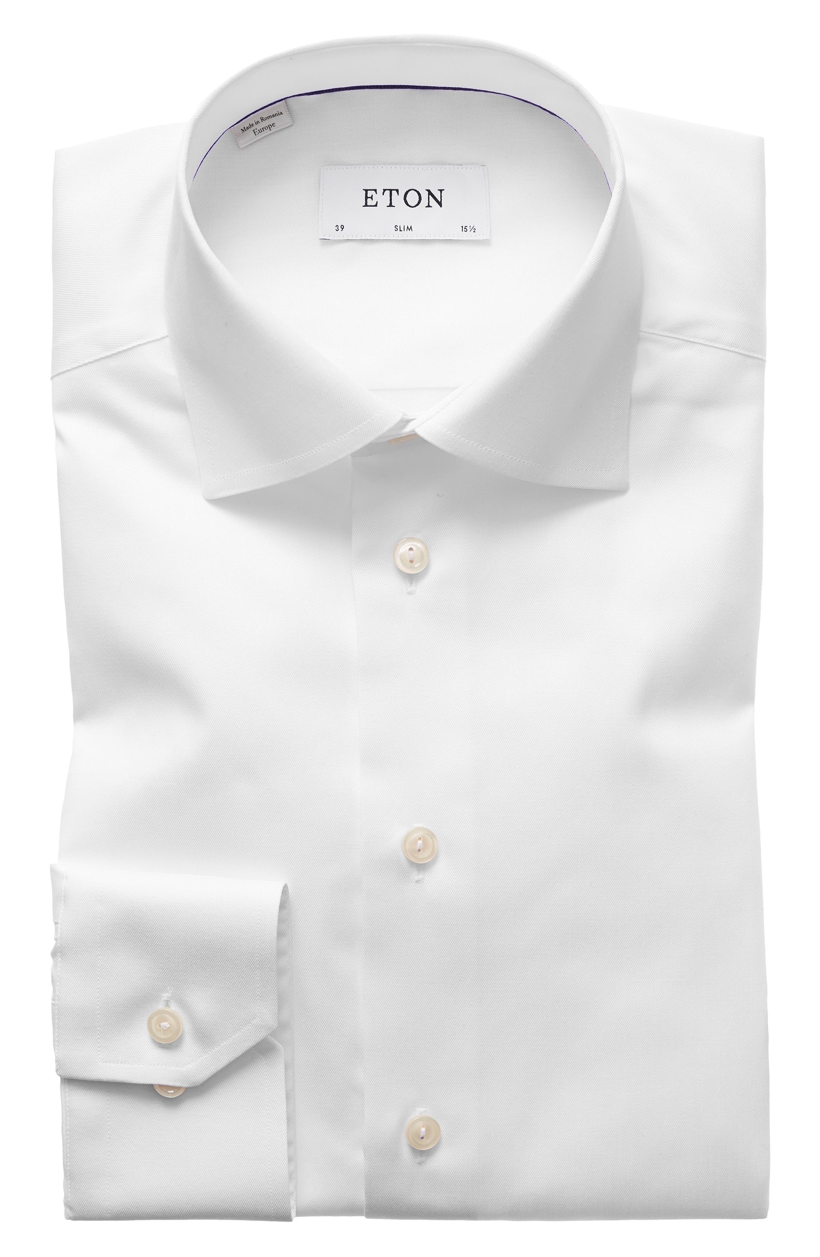ETON Slim Fit Twill Dress Shirt, Main, color, WHITE