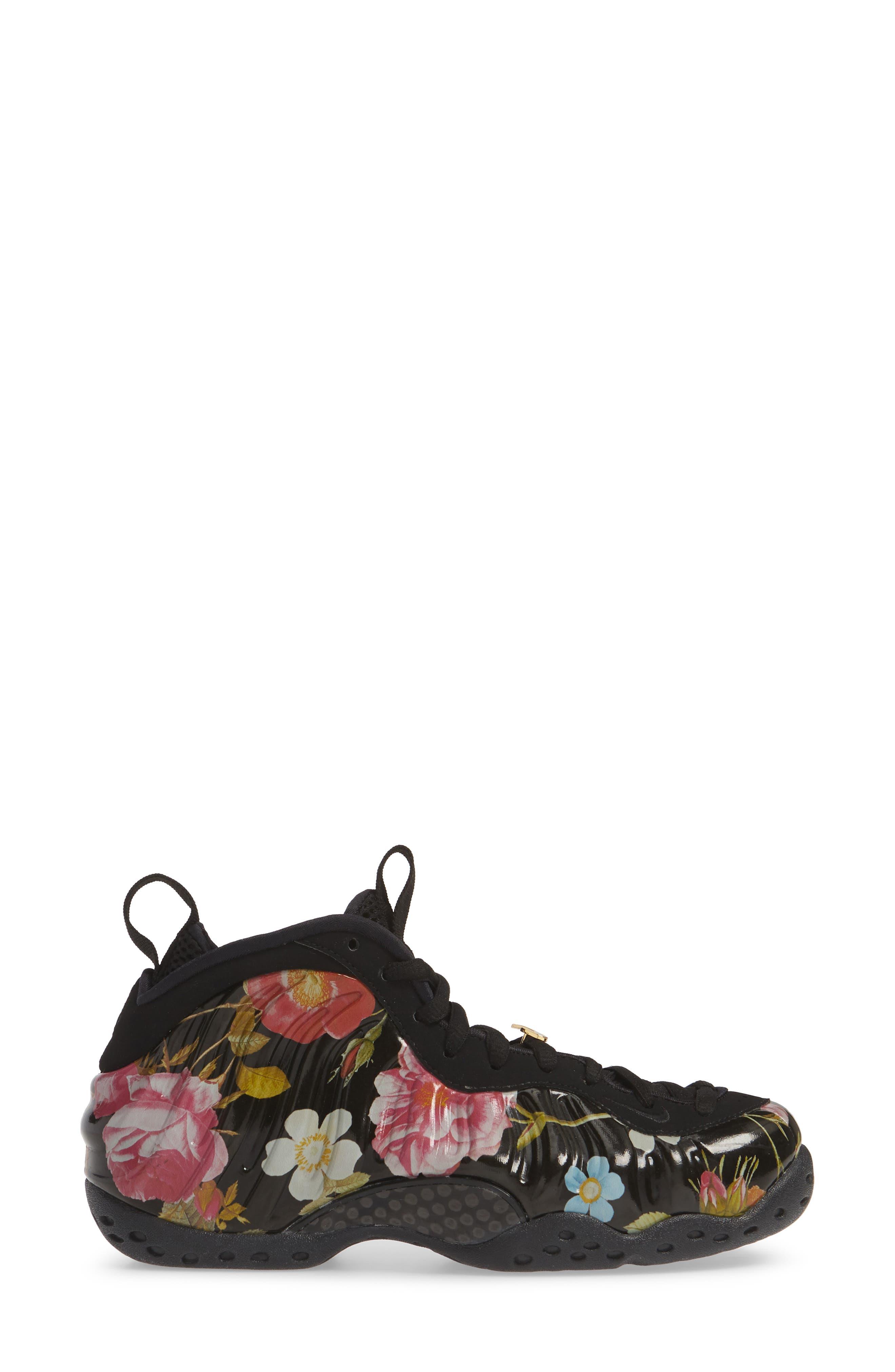 NIKE, Air Foamposite One Sneaker, Alternate thumbnail 3, color, BLACK/ BLACK-METALLIC GOLD