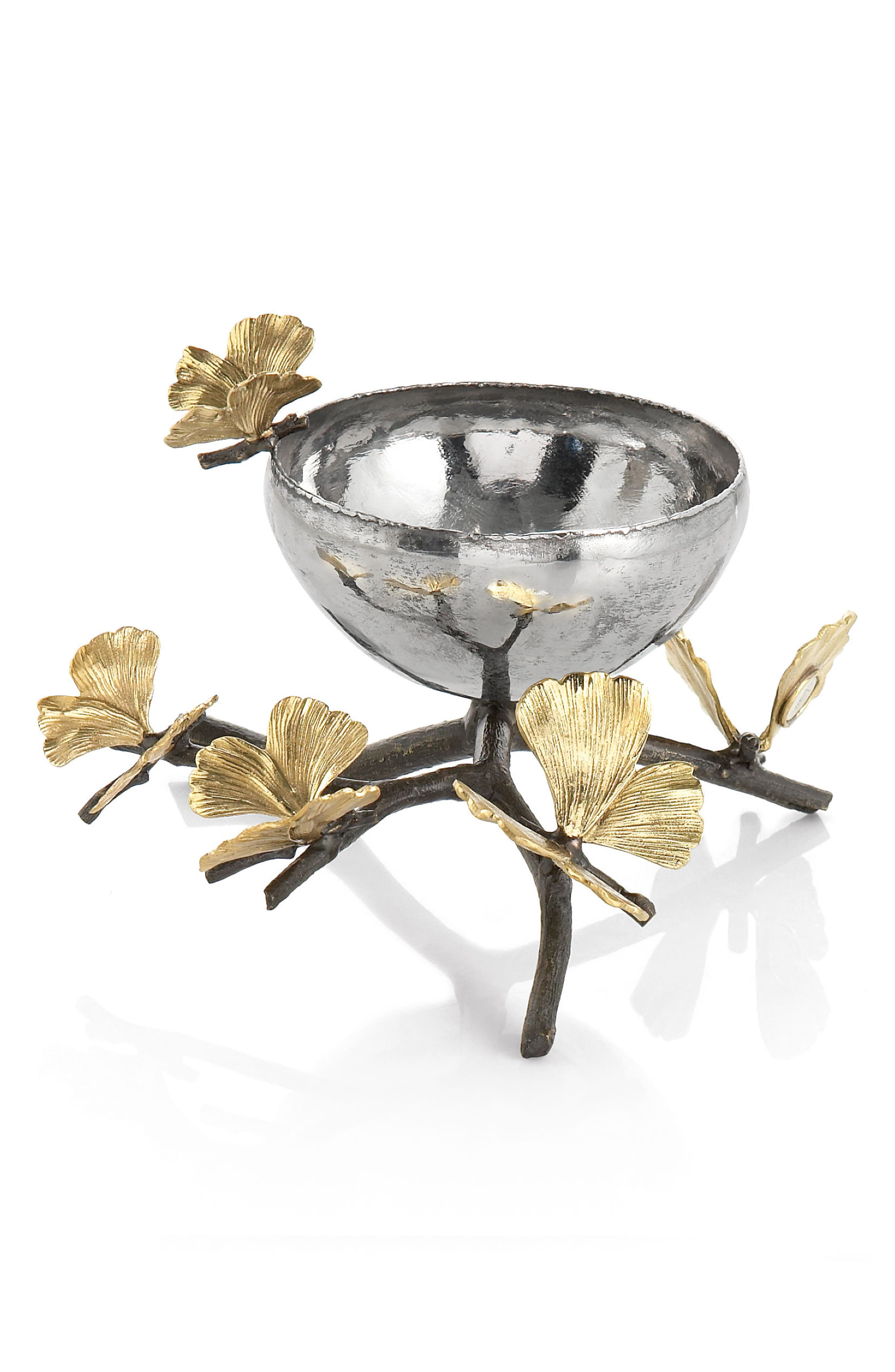 MICHAEL ARAM, Butterfly Ginkgo Nut Dish, Main thumbnail 1, color, SILVER