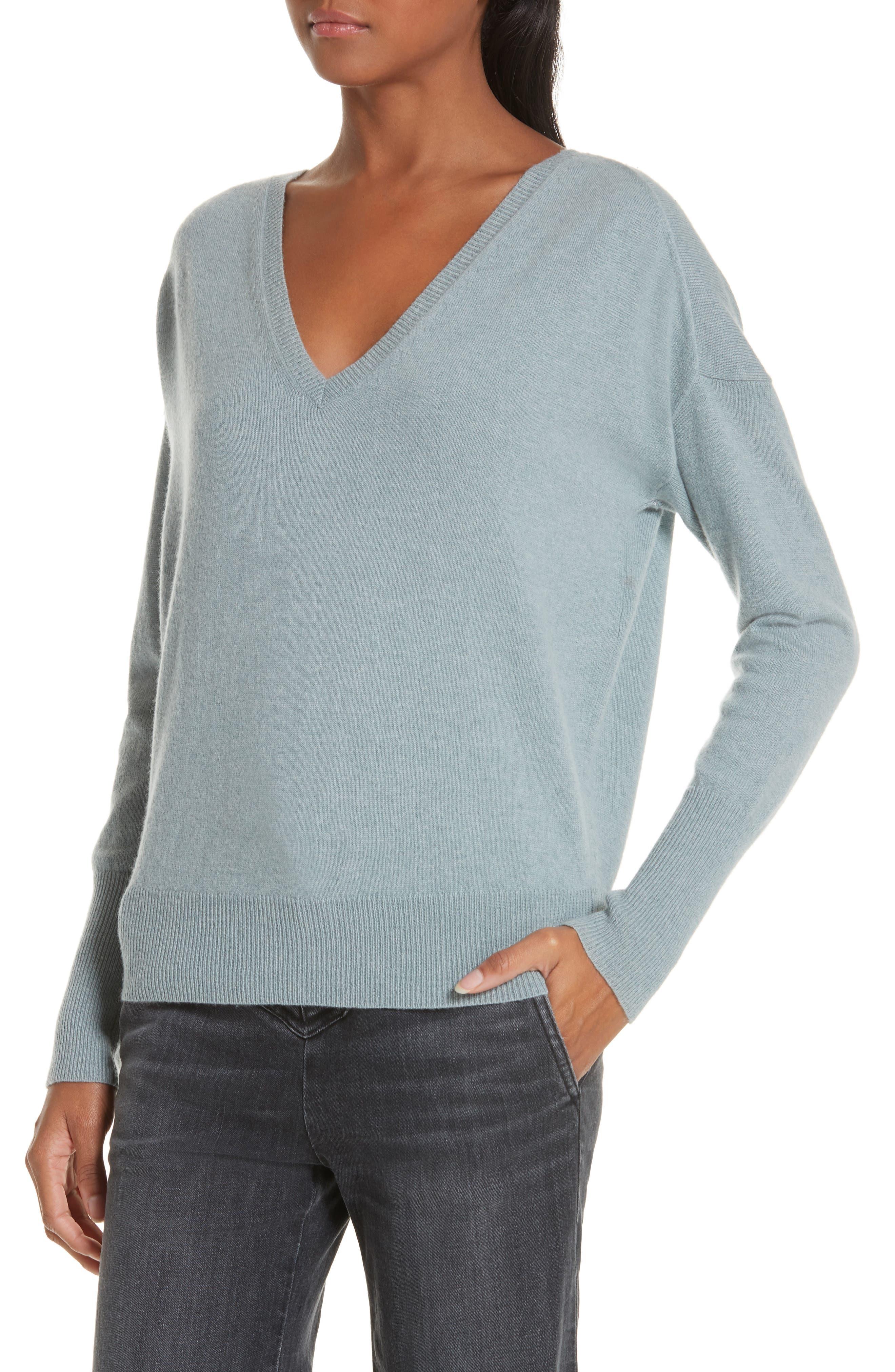 NILI LOTAN, Kylan Cashmere Sweater, Alternate thumbnail 4, color, SKY BLUE