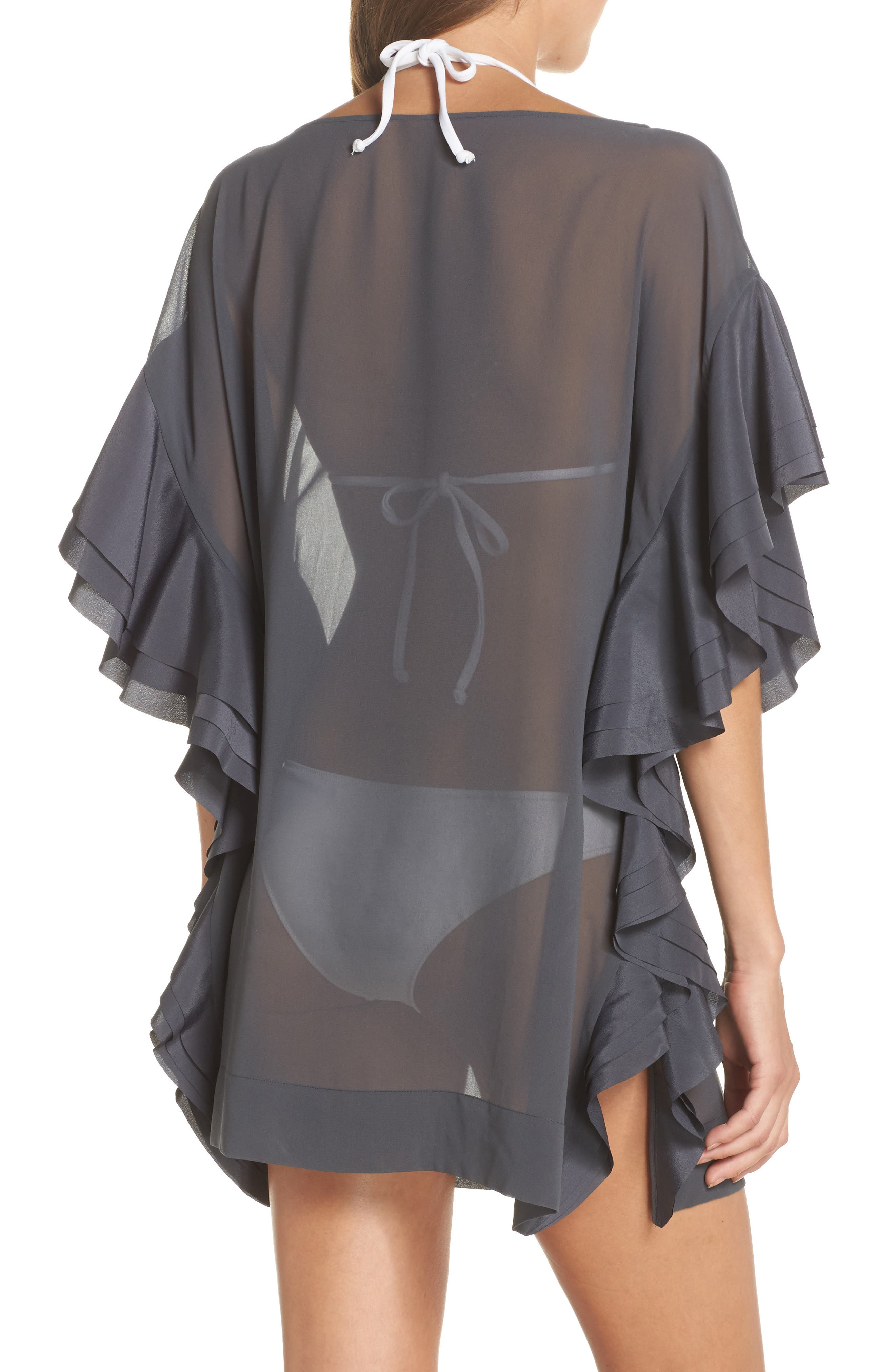 TED BAKER LONDON, Ruffle Square Cover-Up Dress, Alternate thumbnail 2, color, 030