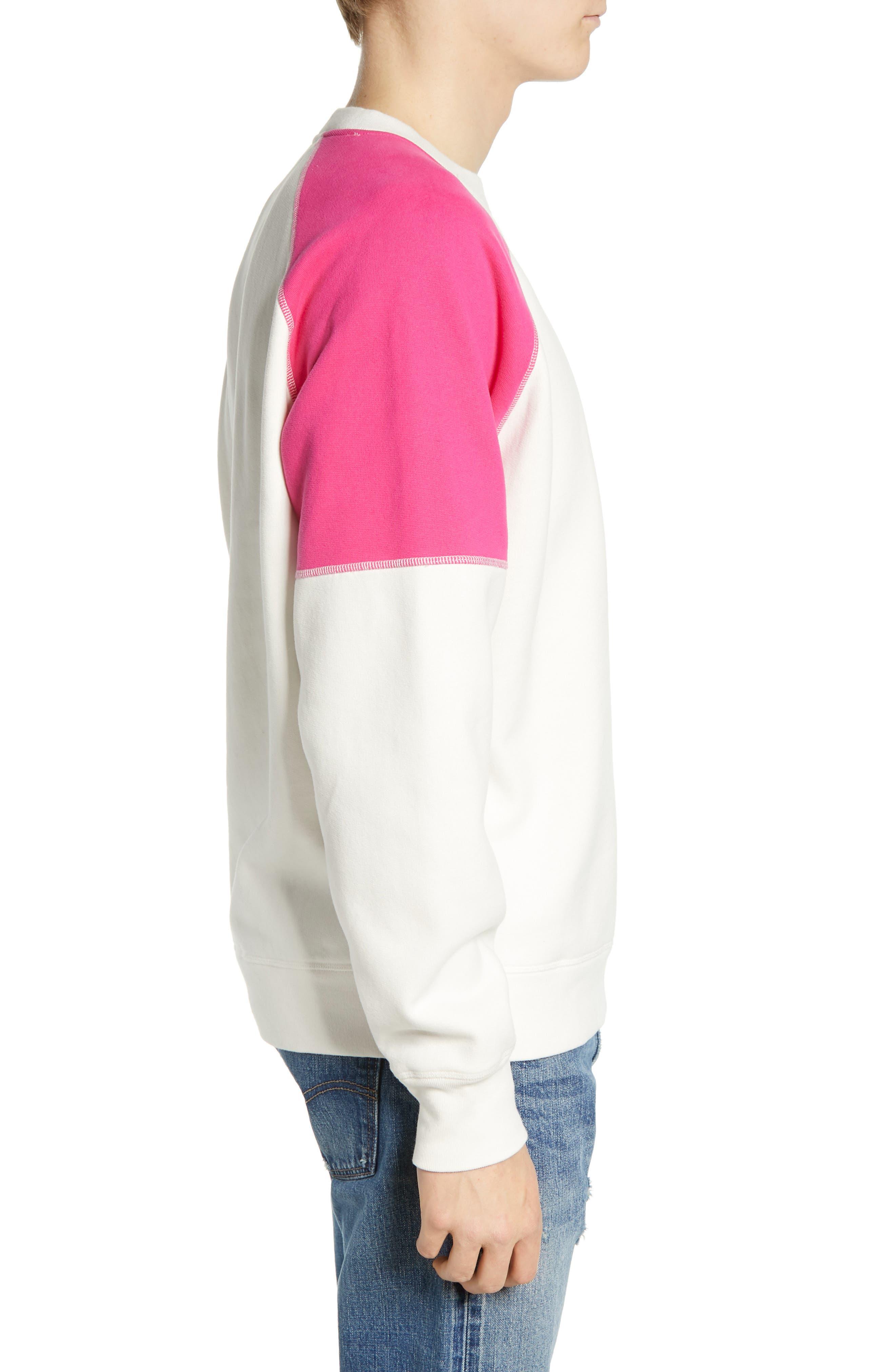 LEVI'S<SUP>®</SUP> MADE & CRAFTED<SUP>™</SUP>, Regular Fit Raglan Sweatshirt, Alternate thumbnail 3, color, WHITE ALYSSUM