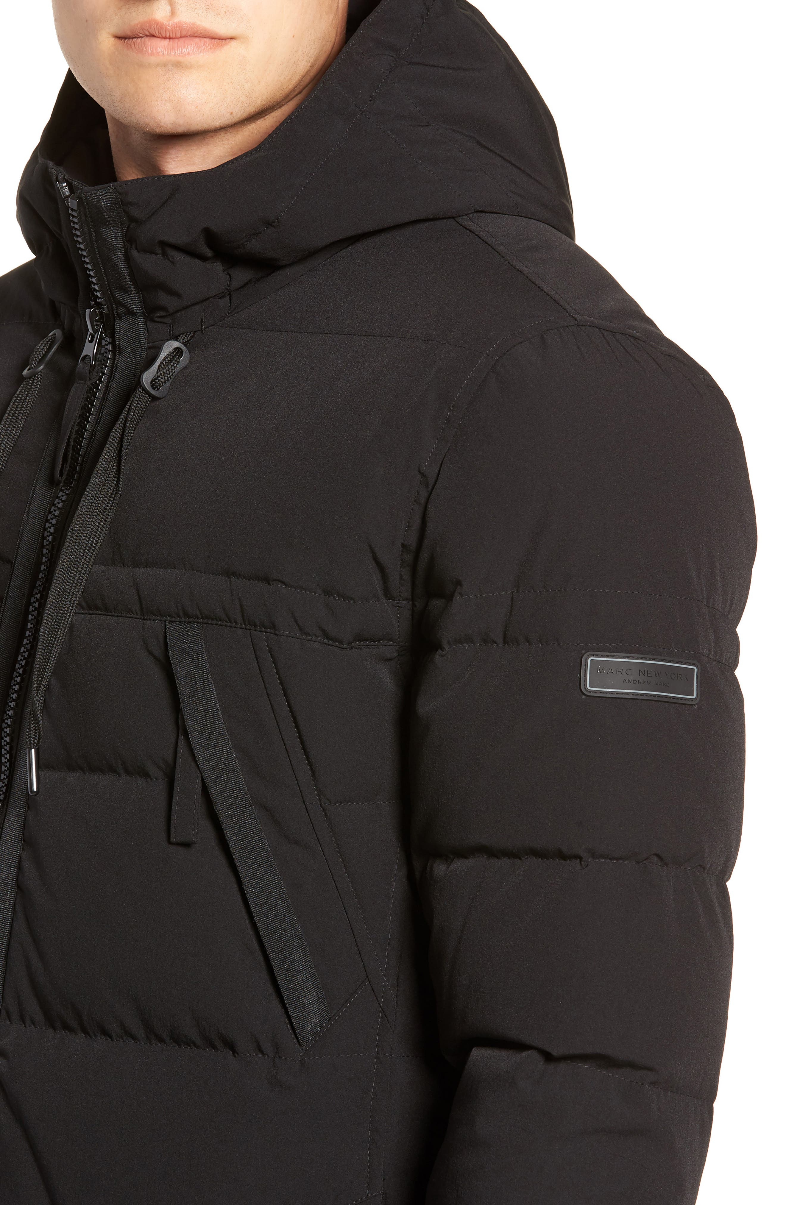 MARC NEW YORK, Holden Down & Feather Parka, Alternate thumbnail 4, color, BLACK
