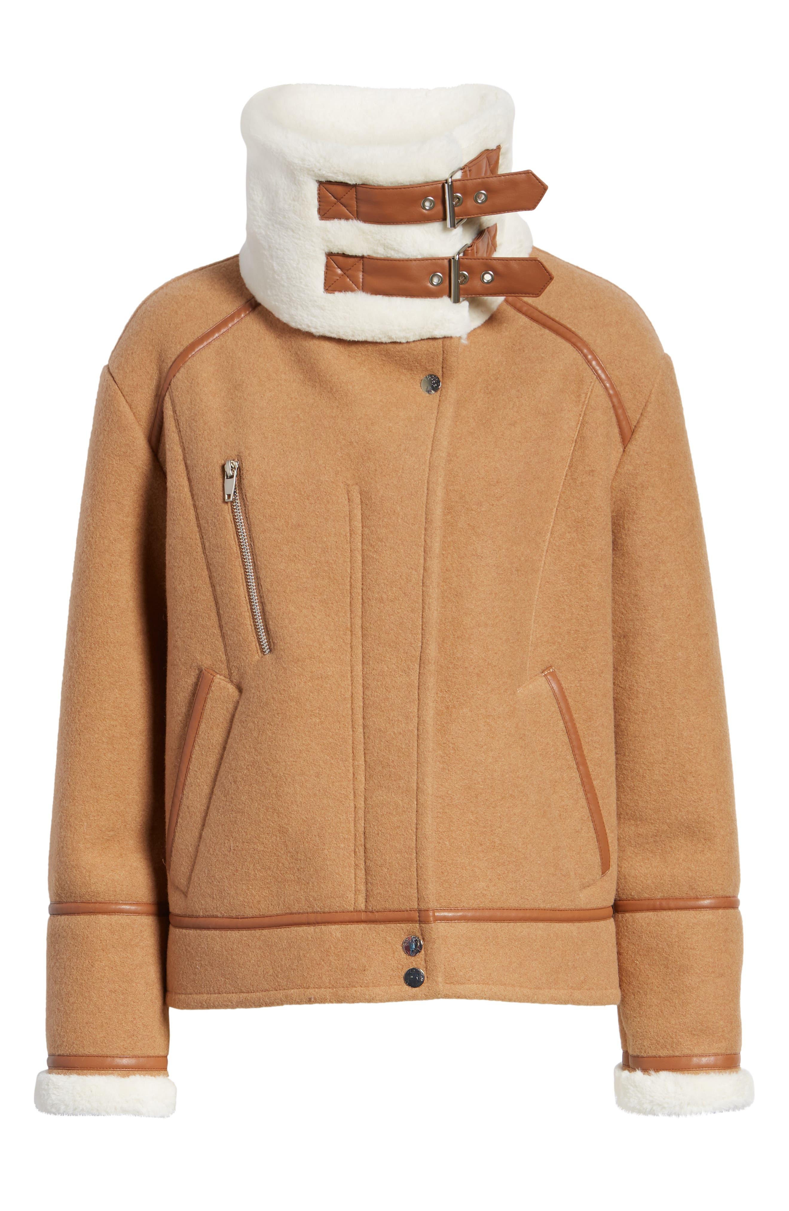 NVLT, Brushed Melton Wool Blend Jacket, Alternate thumbnail 6, color, CAMEL/ CREAM