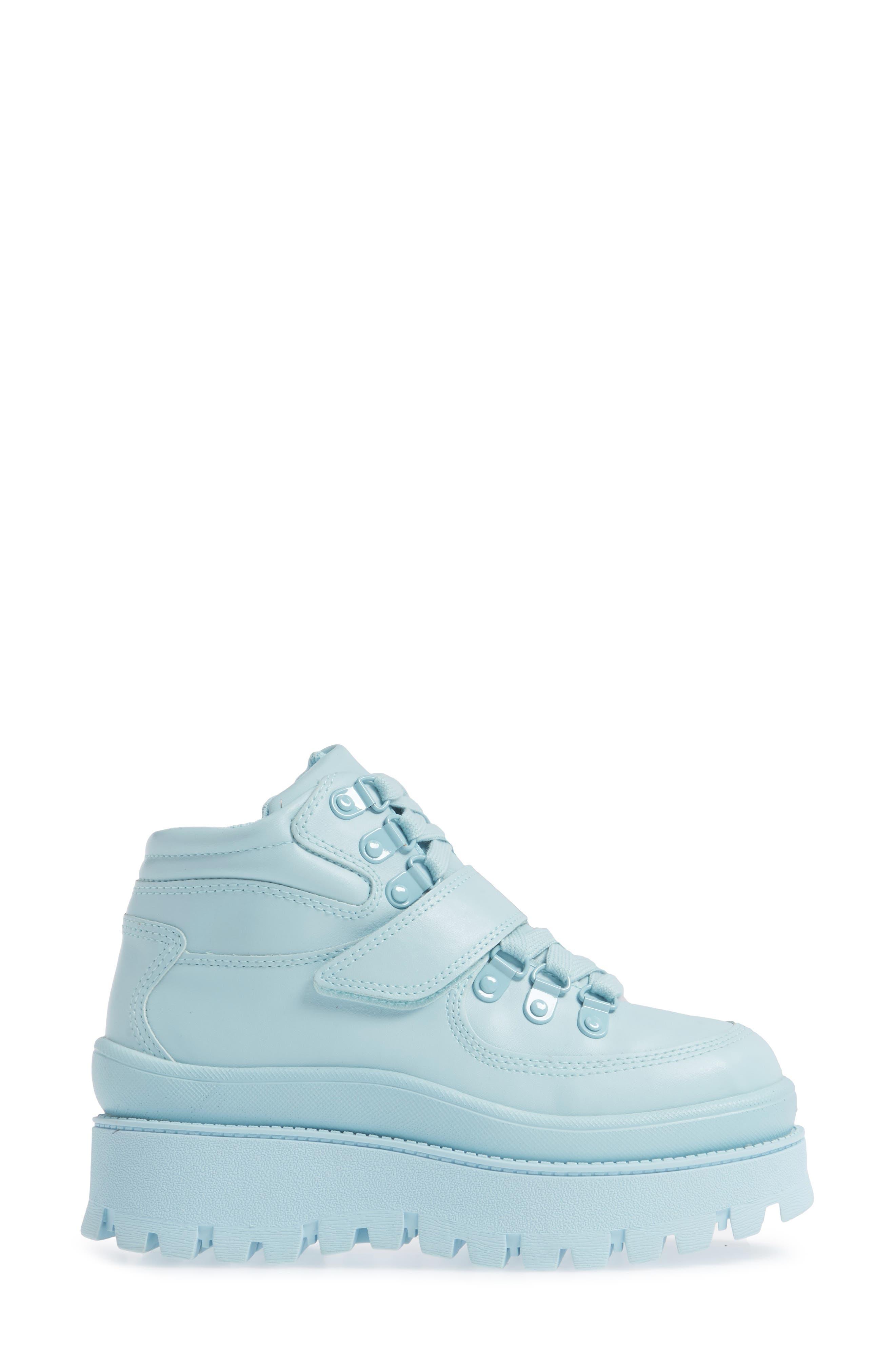 JEFFREY CAMPBELL, Top Peak 2 Platform Sneaker, Alternate thumbnail 3, color, BLUE FAUX LEATHER
