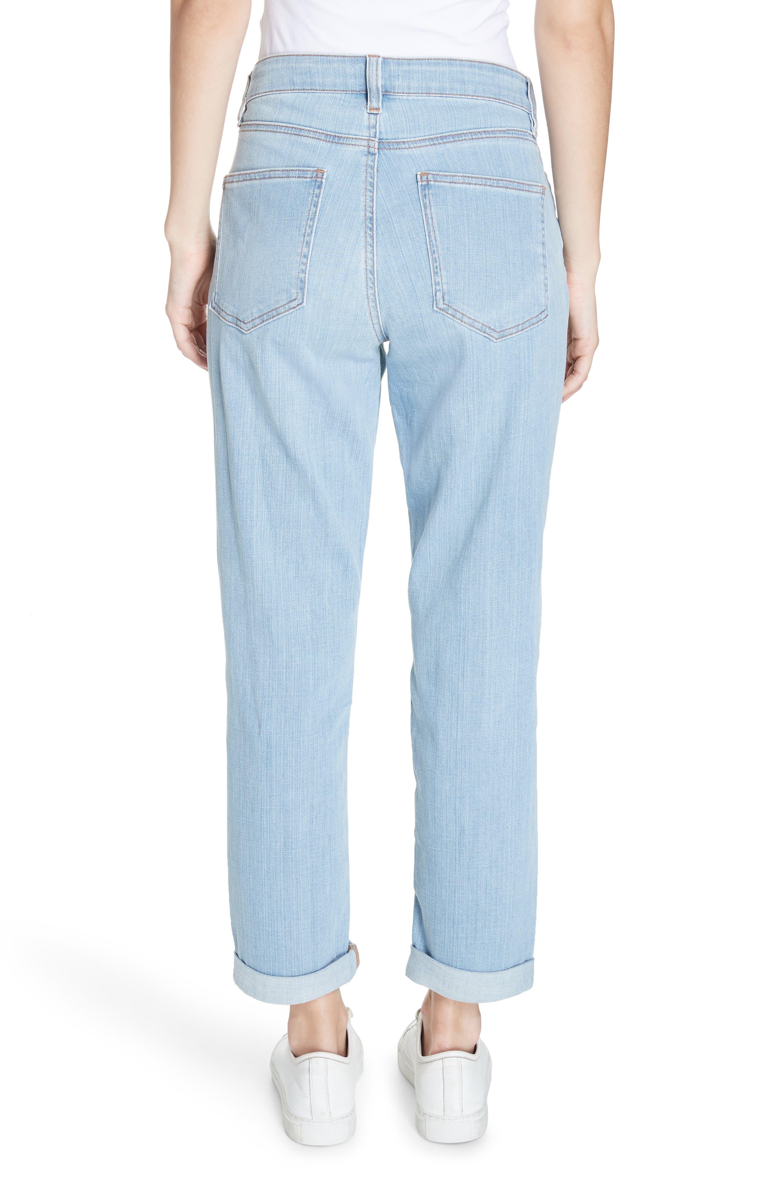 EILEEN FISHER, Organic Cotton Boyfriend Jeans, Alternate thumbnail 2, color, ICE BLUE
