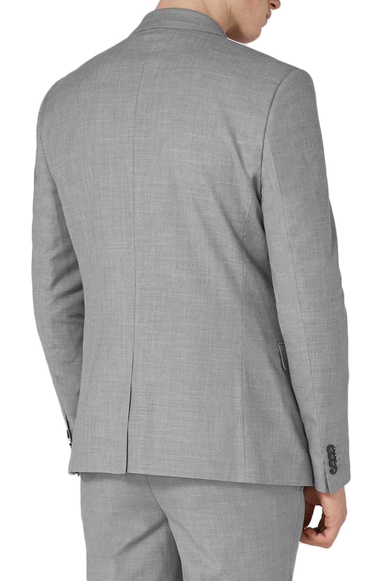 TOPMAN, Skinny Fit Suit Jacket, Alternate thumbnail 2, color, GREY