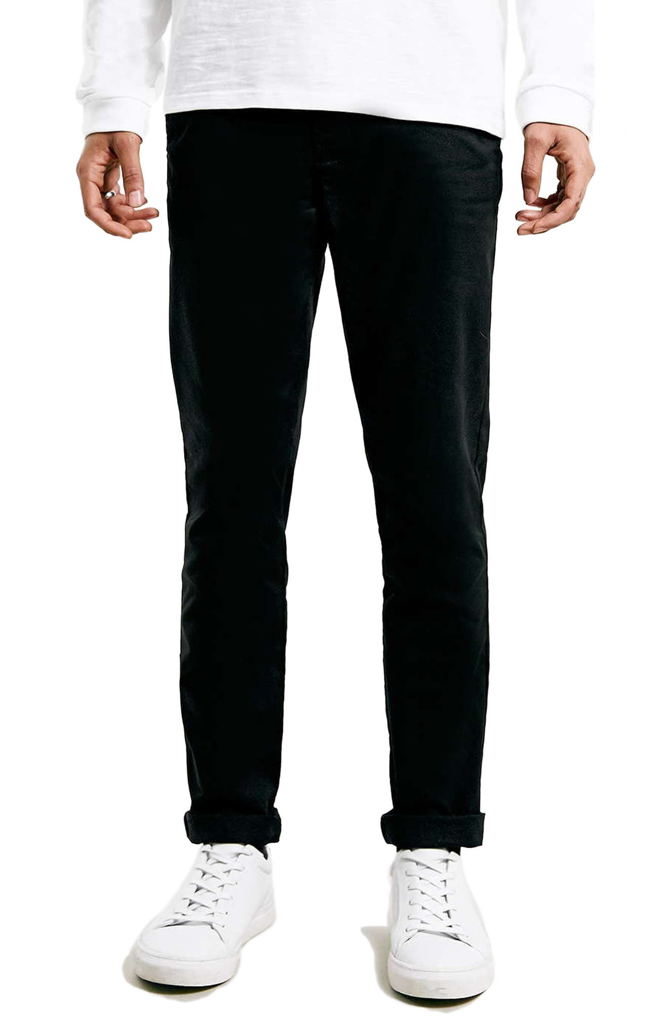 TOPMAN, Stretch Skinny Fit Chinos, Main thumbnail 1, color, BLACK