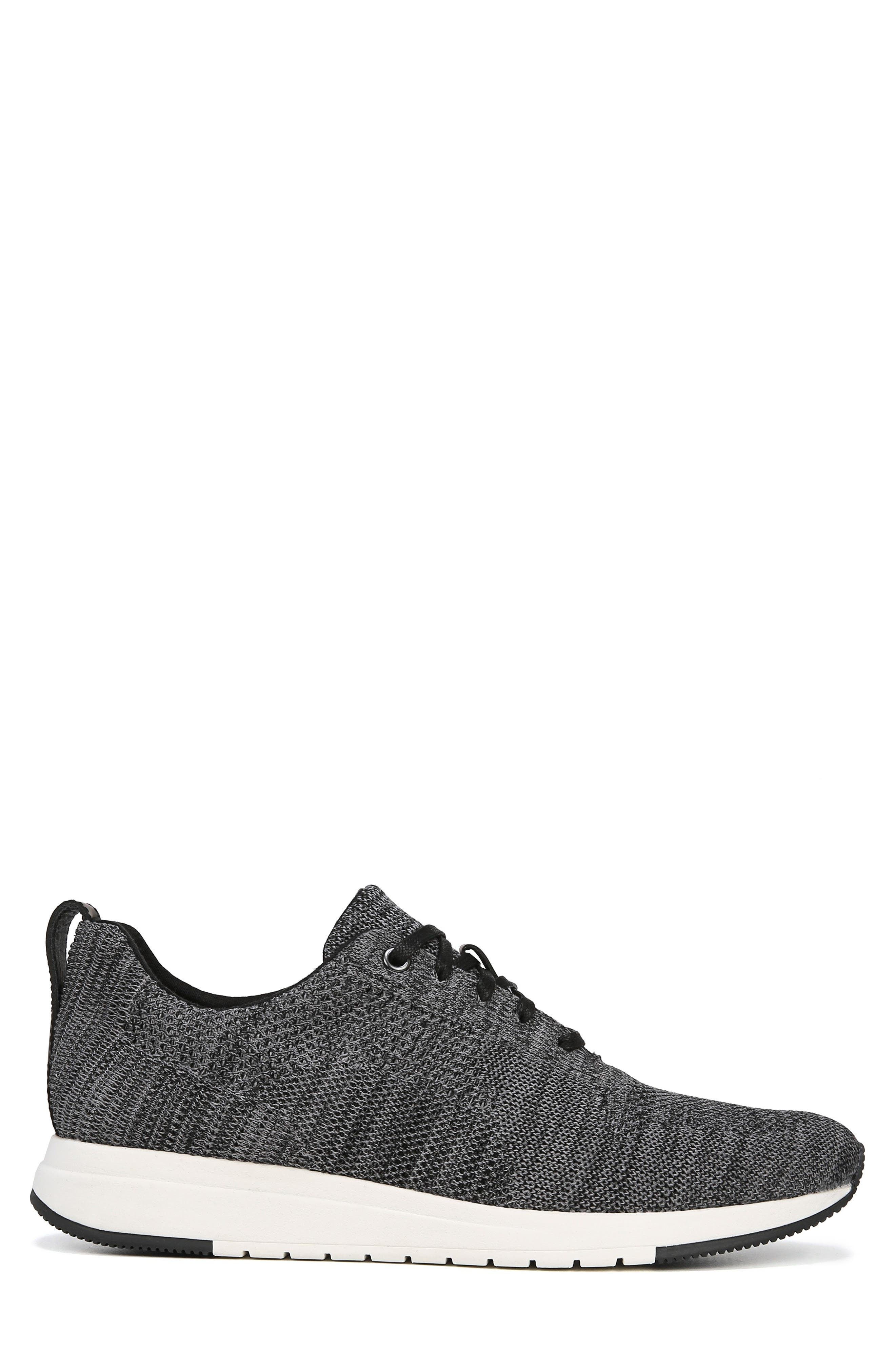 VINCE, Palo Knit Sneaker, Alternate thumbnail 3, color, MARL GREY/ BLACK