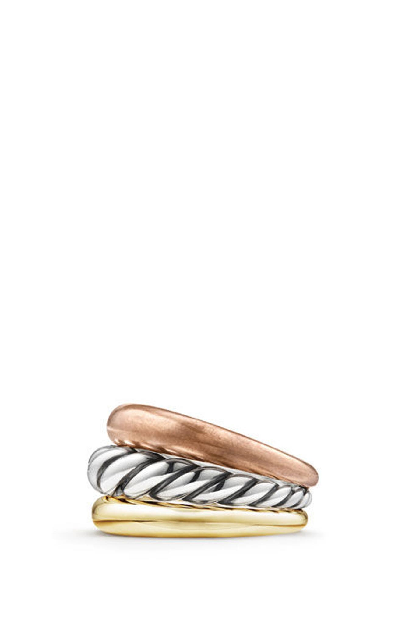 DAVID YURMAN, Pure Form Mixed Metal Three-Row Ring with Bronze, Silver & Brass, Alternate thumbnail 3, color, SILVER