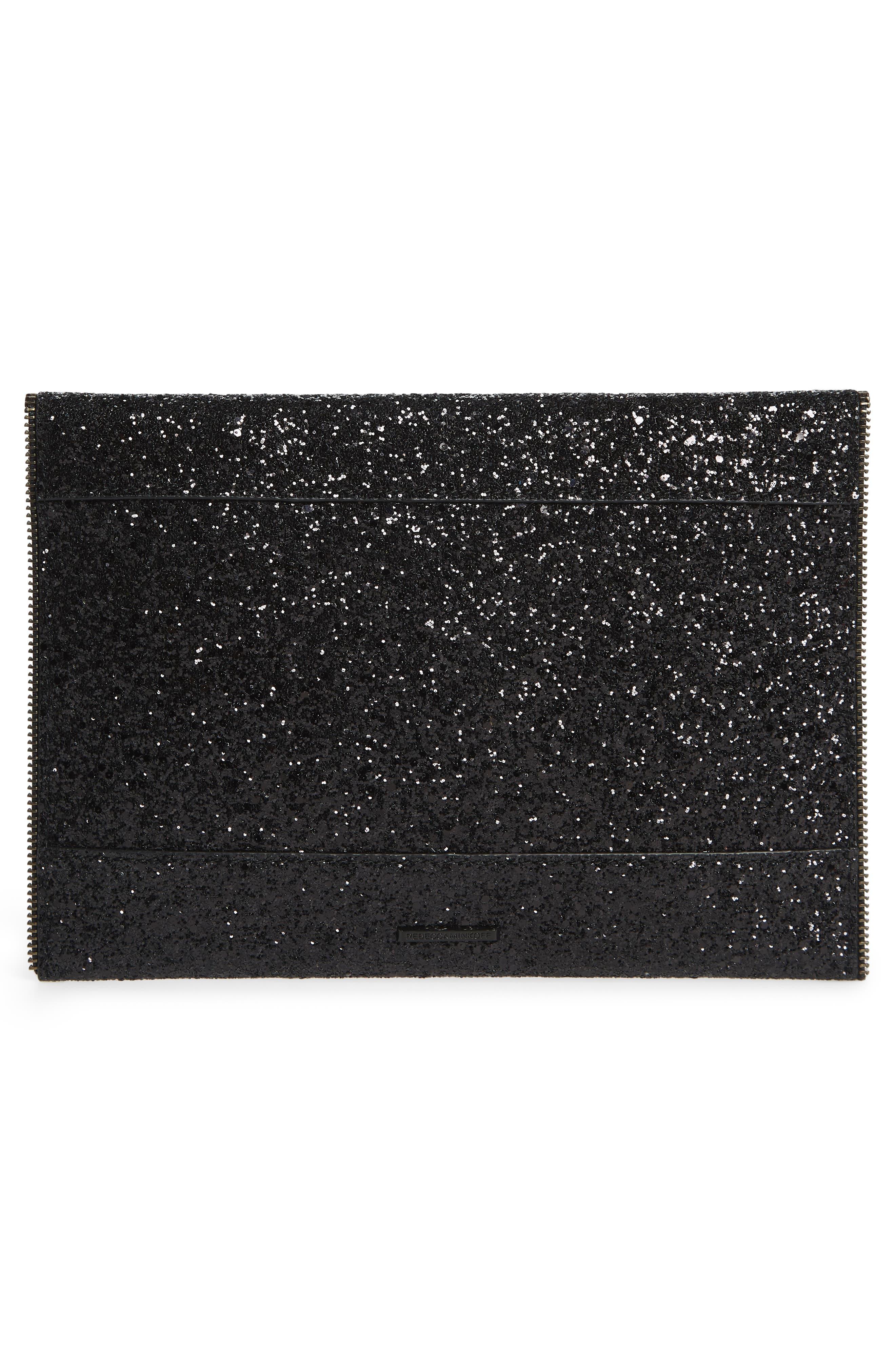 REBECCA MINKOFF, Leo Glitter Clutch, Alternate thumbnail 4, color, BLACK MULTI/ BLACK HRDWR