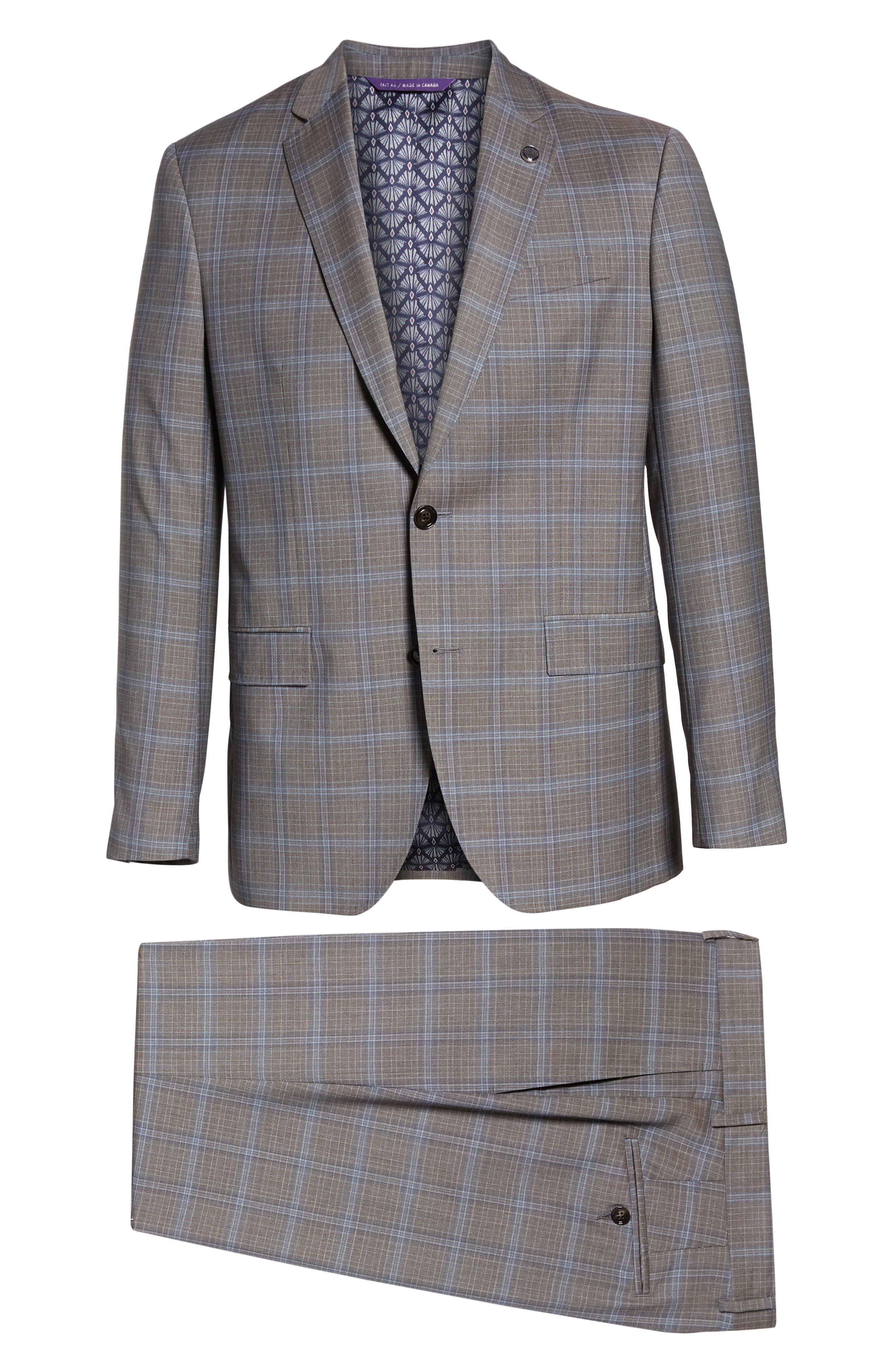 TED BAKER LONDON, Jay Trim Fit Plaid Wool Suit, Alternate thumbnail 8, color, LIGHT GREY