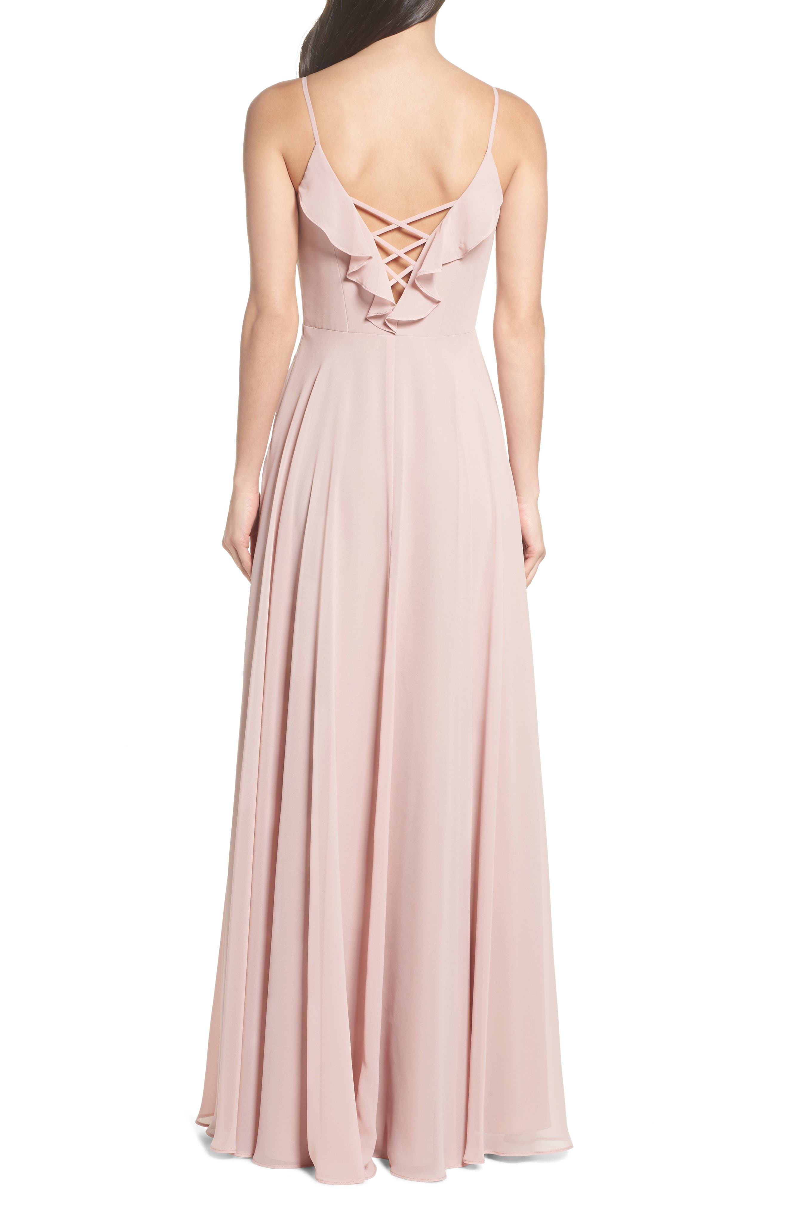 HAYLEY PAIGE OCCASIONS, Ruffle Chiffon Gown, Alternate thumbnail 2, color, DUSTY ROSE