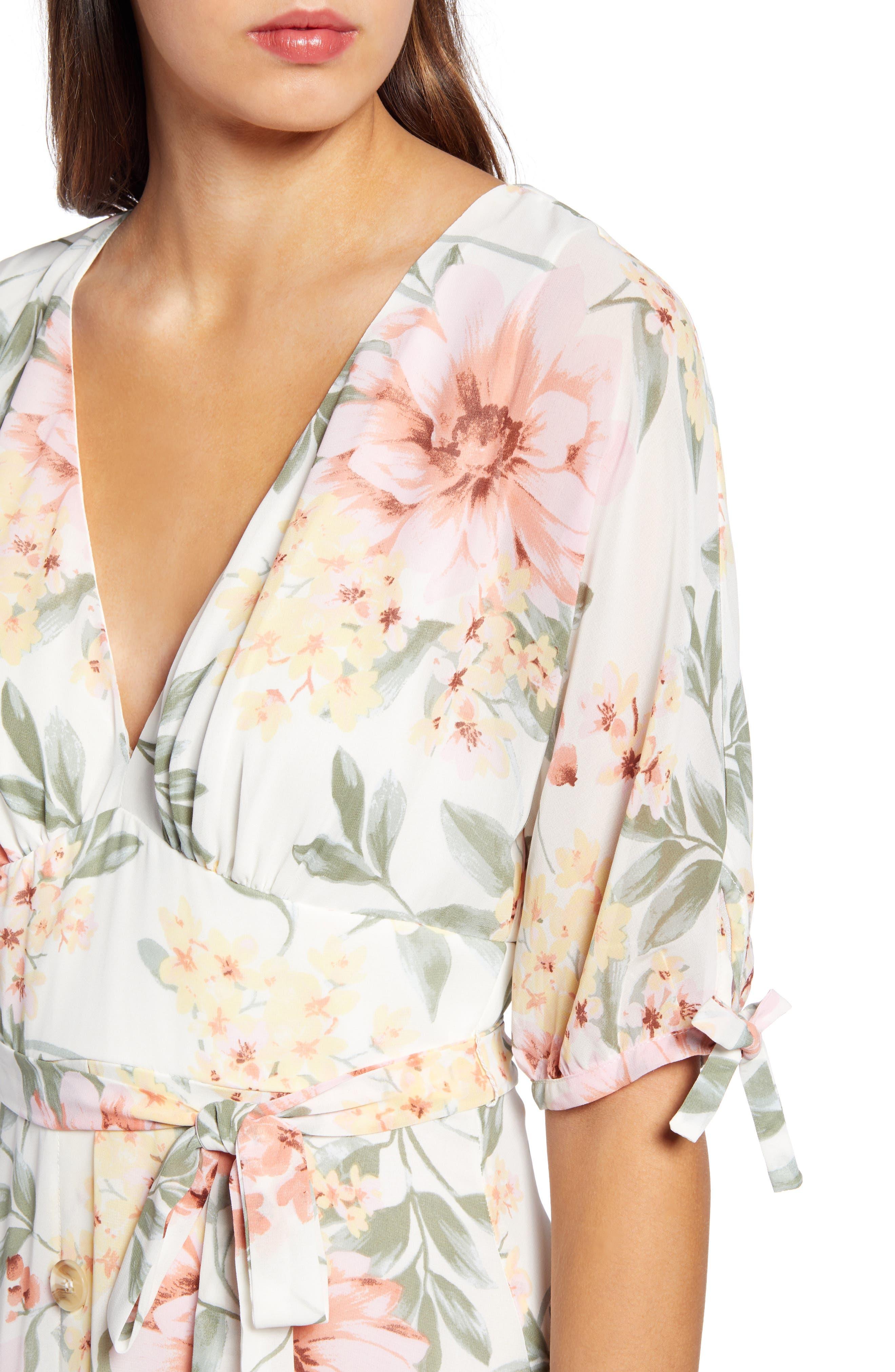 JUNE & HUDSON, Floral V-Neck Tie Front Dress, Alternate thumbnail 5, color, IVORY/ ROSE/ SAGE