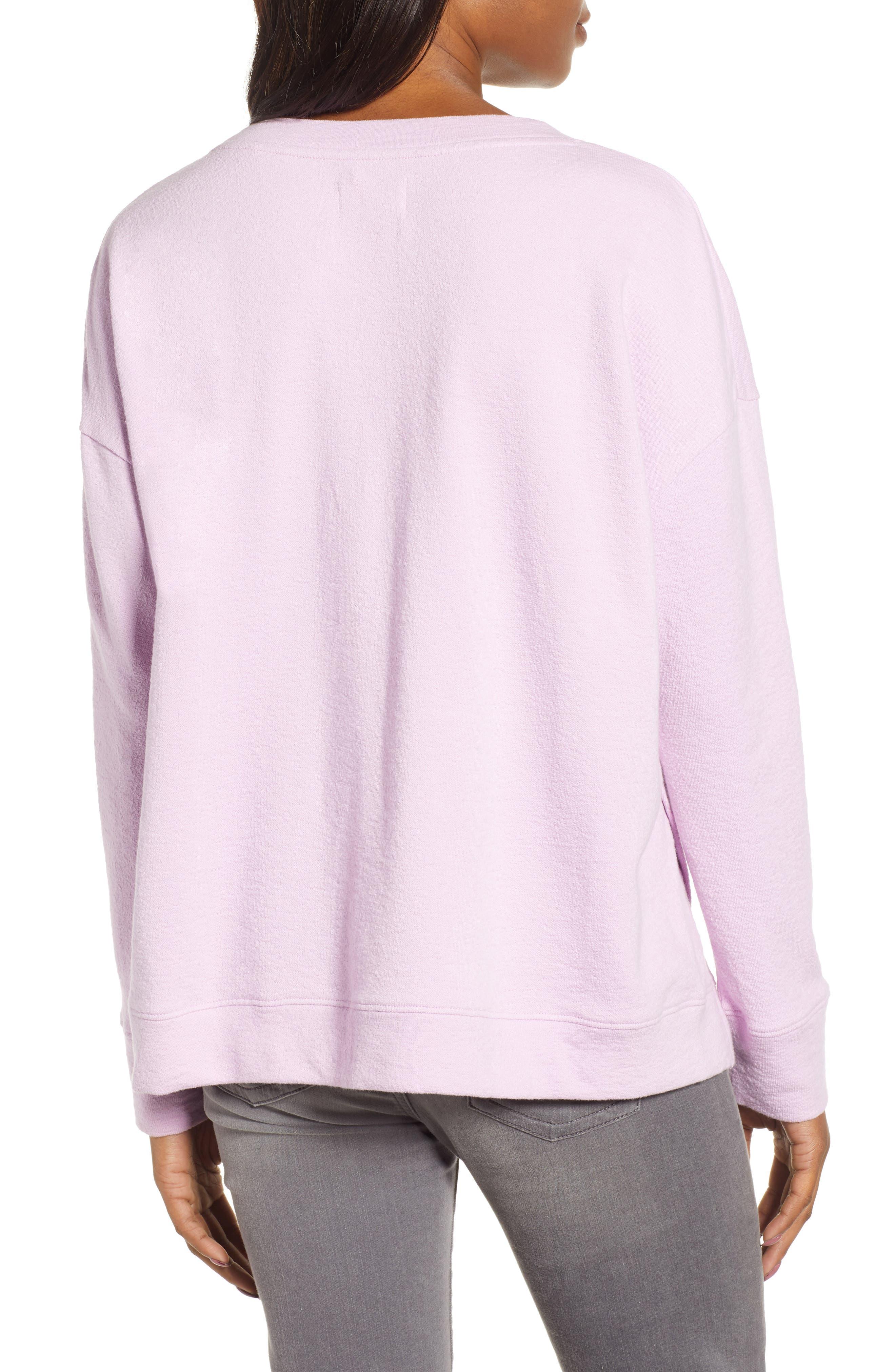 CASLON<SUP>®</SUP>, Side Slit Relaxed Sweatshirt, Alternate thumbnail 2, color, PINK BOUQUET
