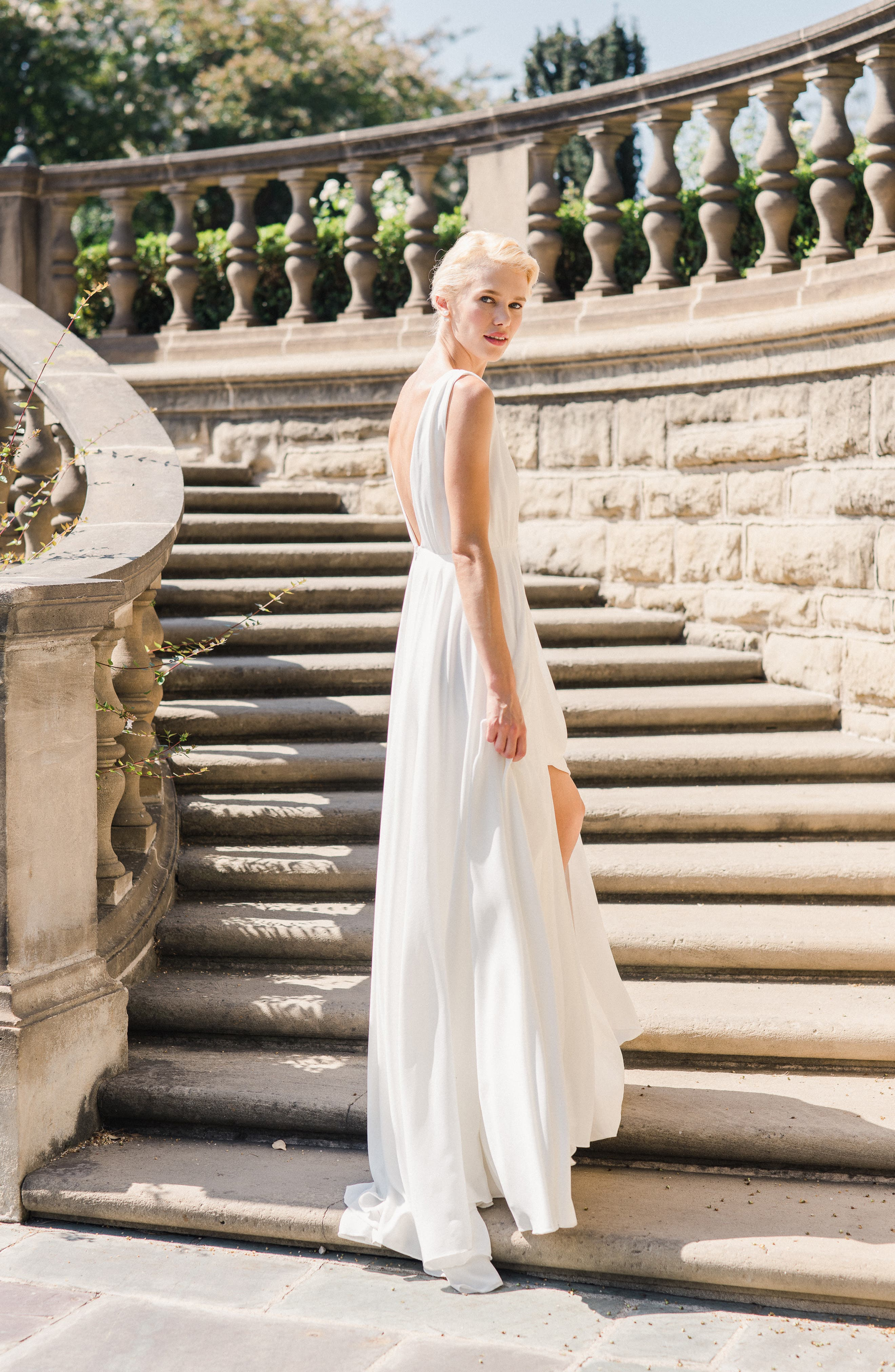 JOANNA AUGUST, Nico Plunging A-Line Gown, Alternate thumbnail 8, color, WHITE