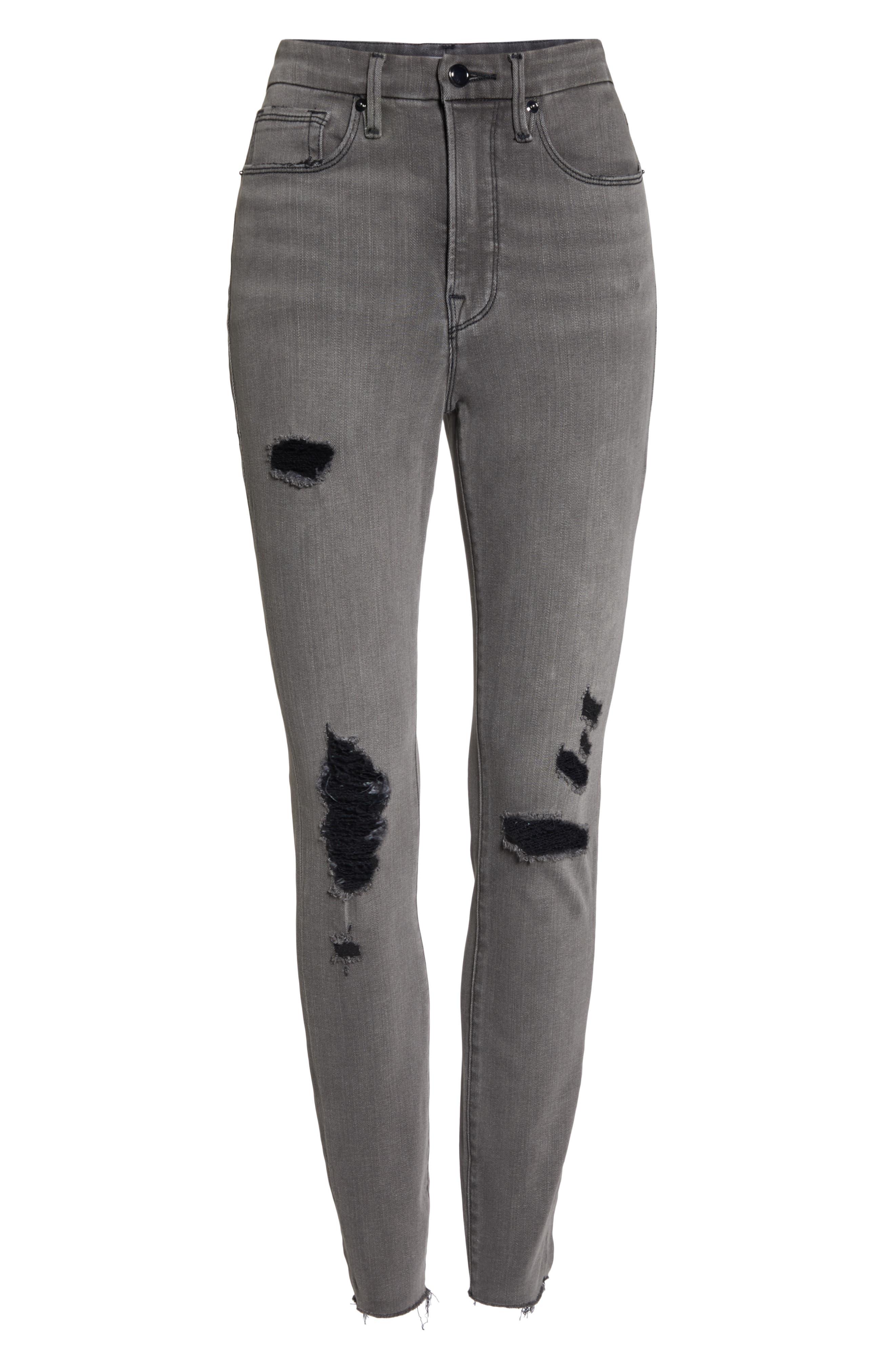 GOOD AMERICAN, Good Waist Ripped High Waist Skinny Jeans, Alternate thumbnail 6, color, BLACK044