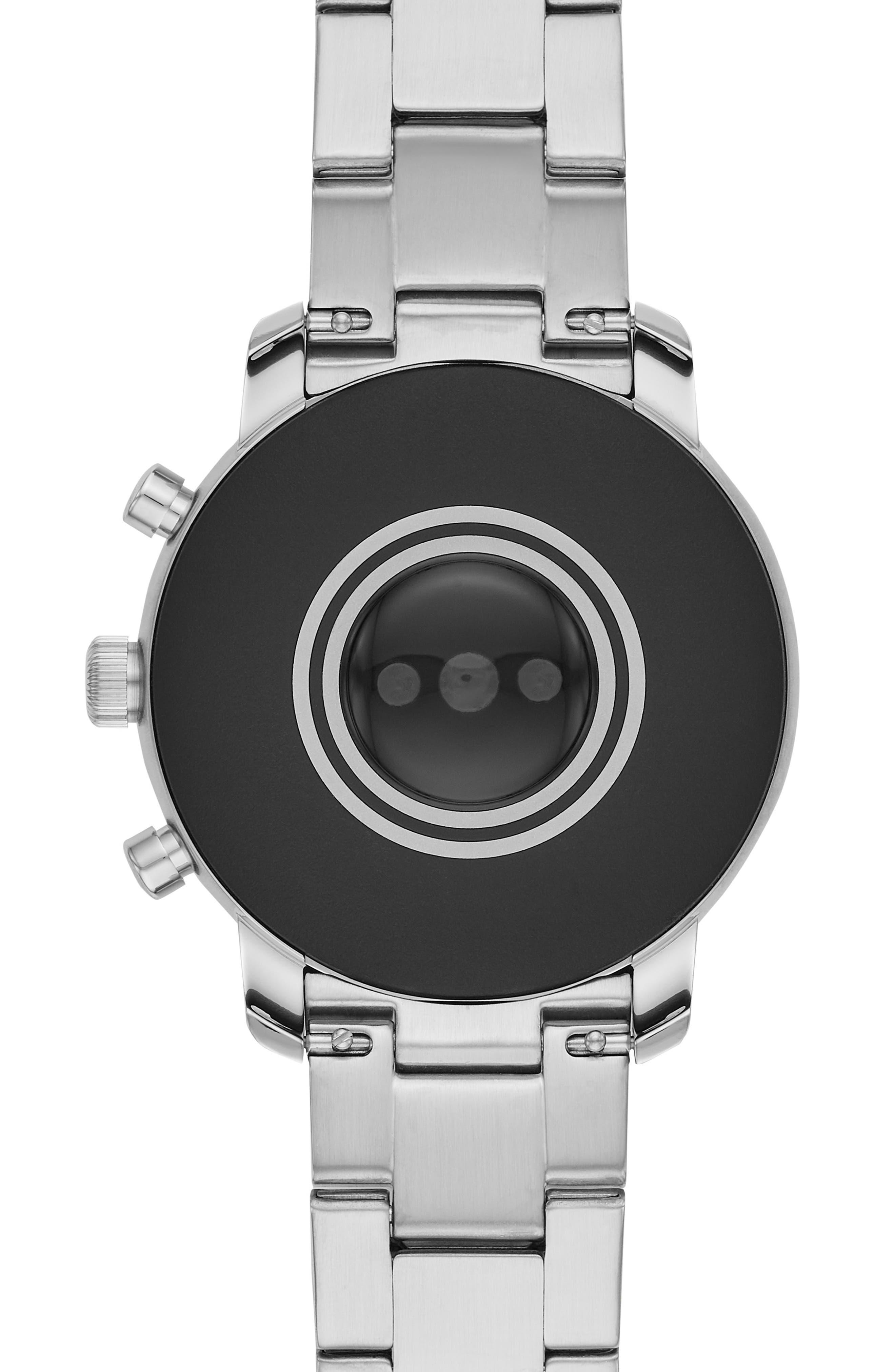 FOSSIL, Q Explorist HR Gen 4 Bracelet Strap Smart Watch, 45mm, Alternate thumbnail 4, color, SILVER