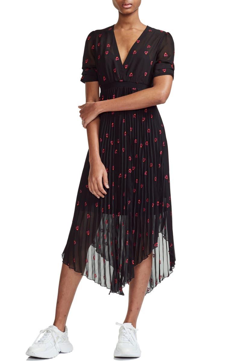 Maje Dresses Rengo Hearts Asymmetrical Hem Dress