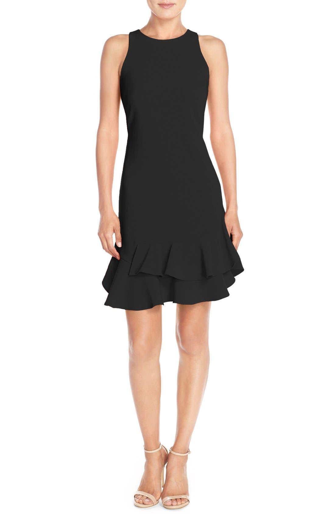 CHELSEA28, Tiered Ruffle Hem Mini Dress, Alternate thumbnail 9, color, 001