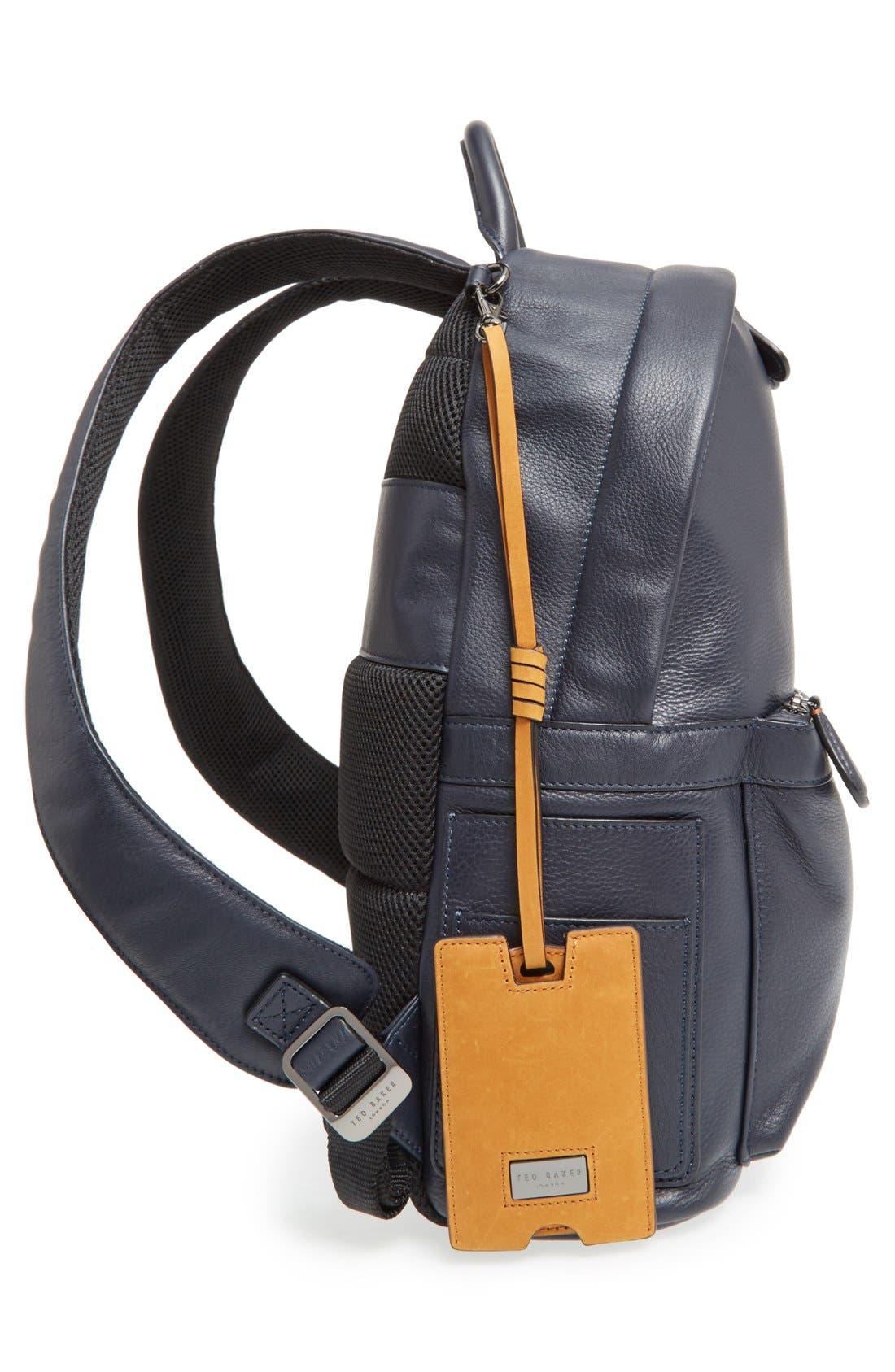 TED BAKER LONDON, 'Dollar' Leather Backpack, Alternate thumbnail 5, color, 410