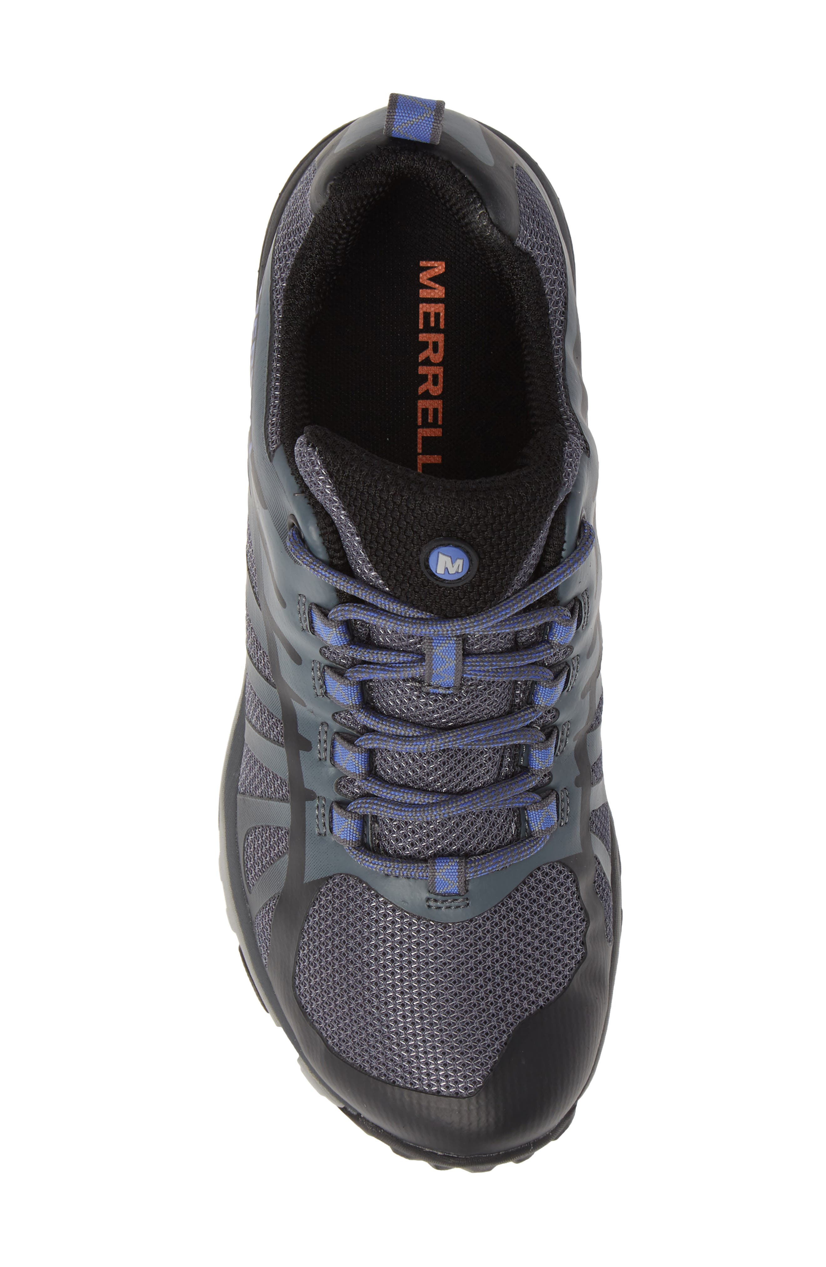 MERRELL, Siren Edge Waterproof Q2 Hiking Shoe, Alternate thumbnail 5, color, BLACK FABRIC