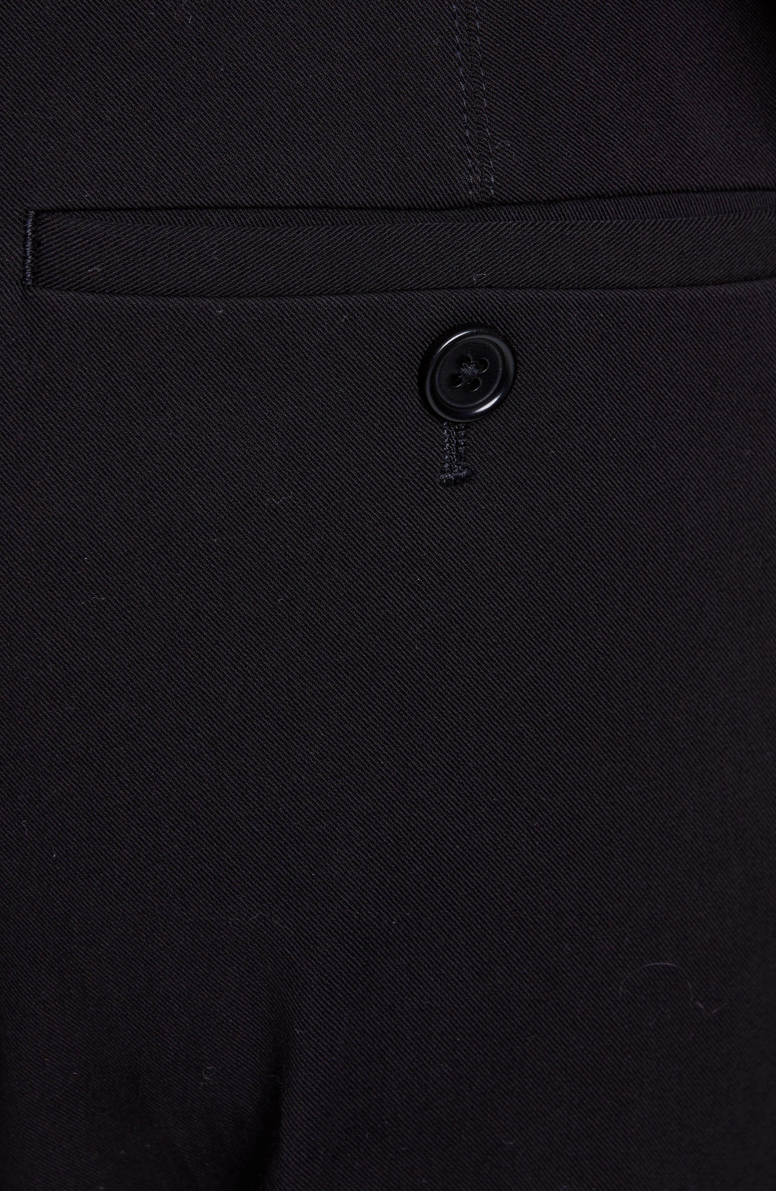HELMUT LANG, Stretch Cotton Slim Trousers, Alternate thumbnail 5, color, BLACK