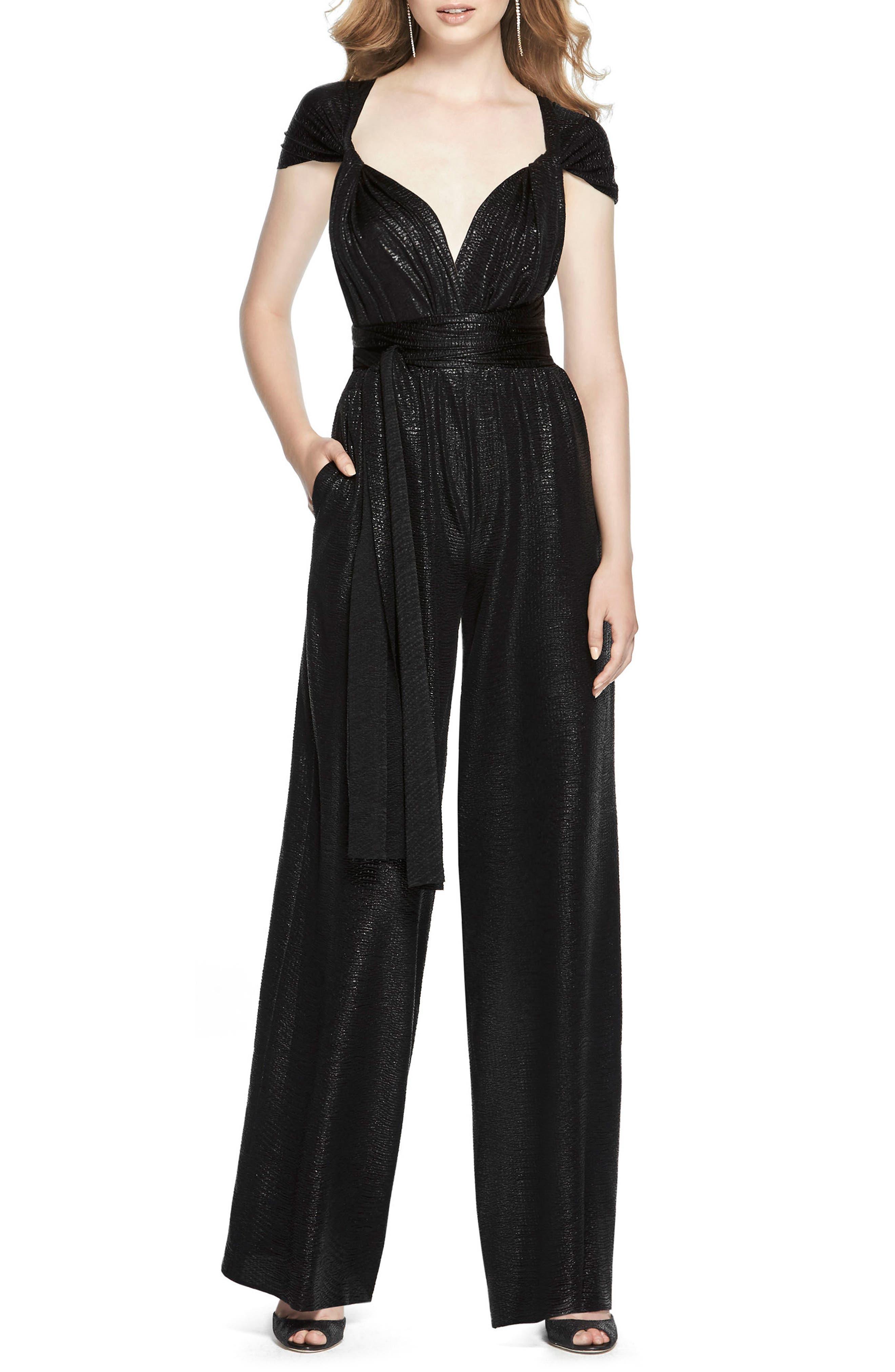 DESSY COLLECTION, Twist Convertible Wide Leg Jumpsuit, Main thumbnail 1, color, BLACK