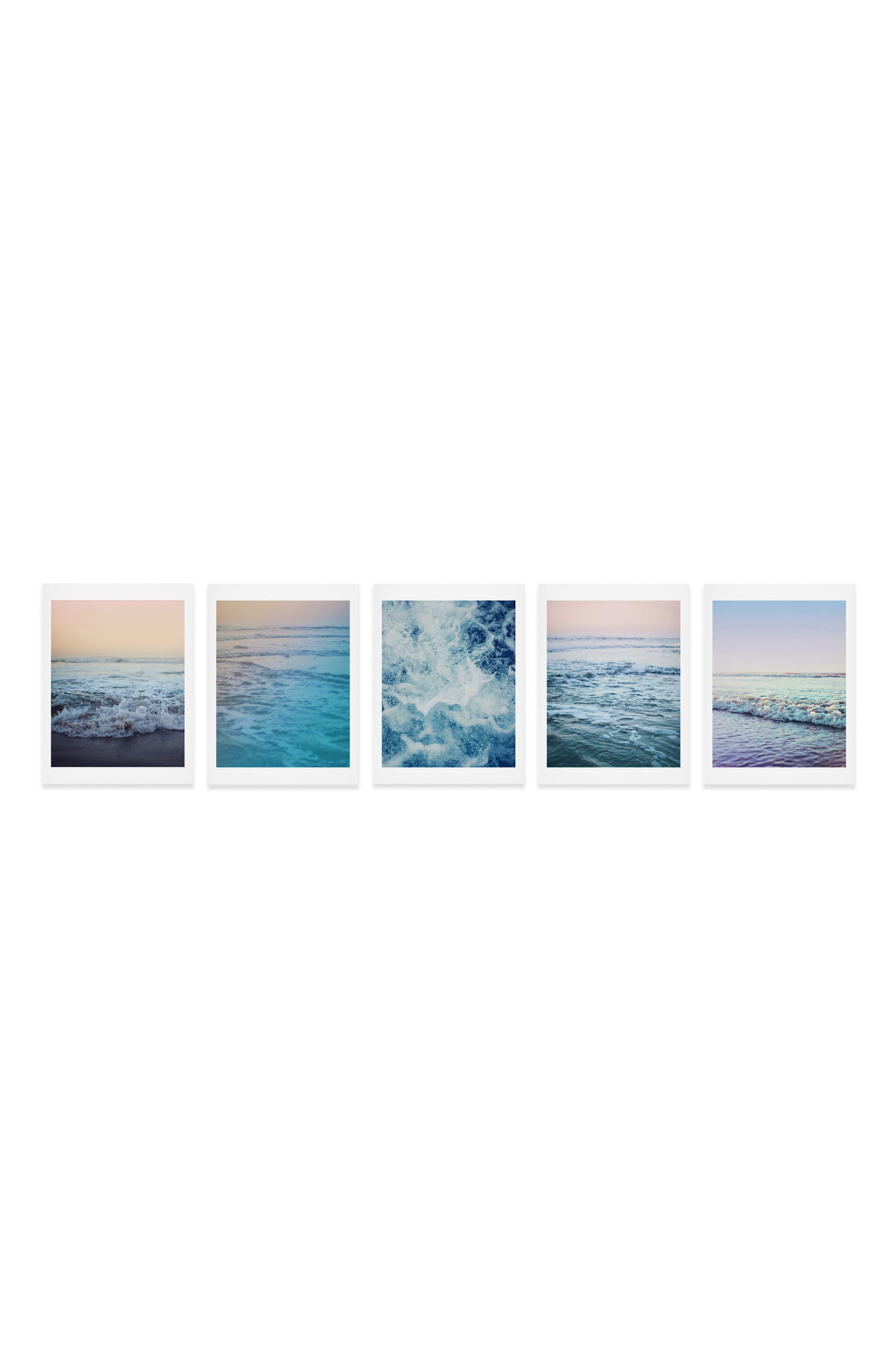 DENY DESIGNS, Ocean Five-Piece Gallery Wall Art Print Set, Main thumbnail 1, color, MULTI