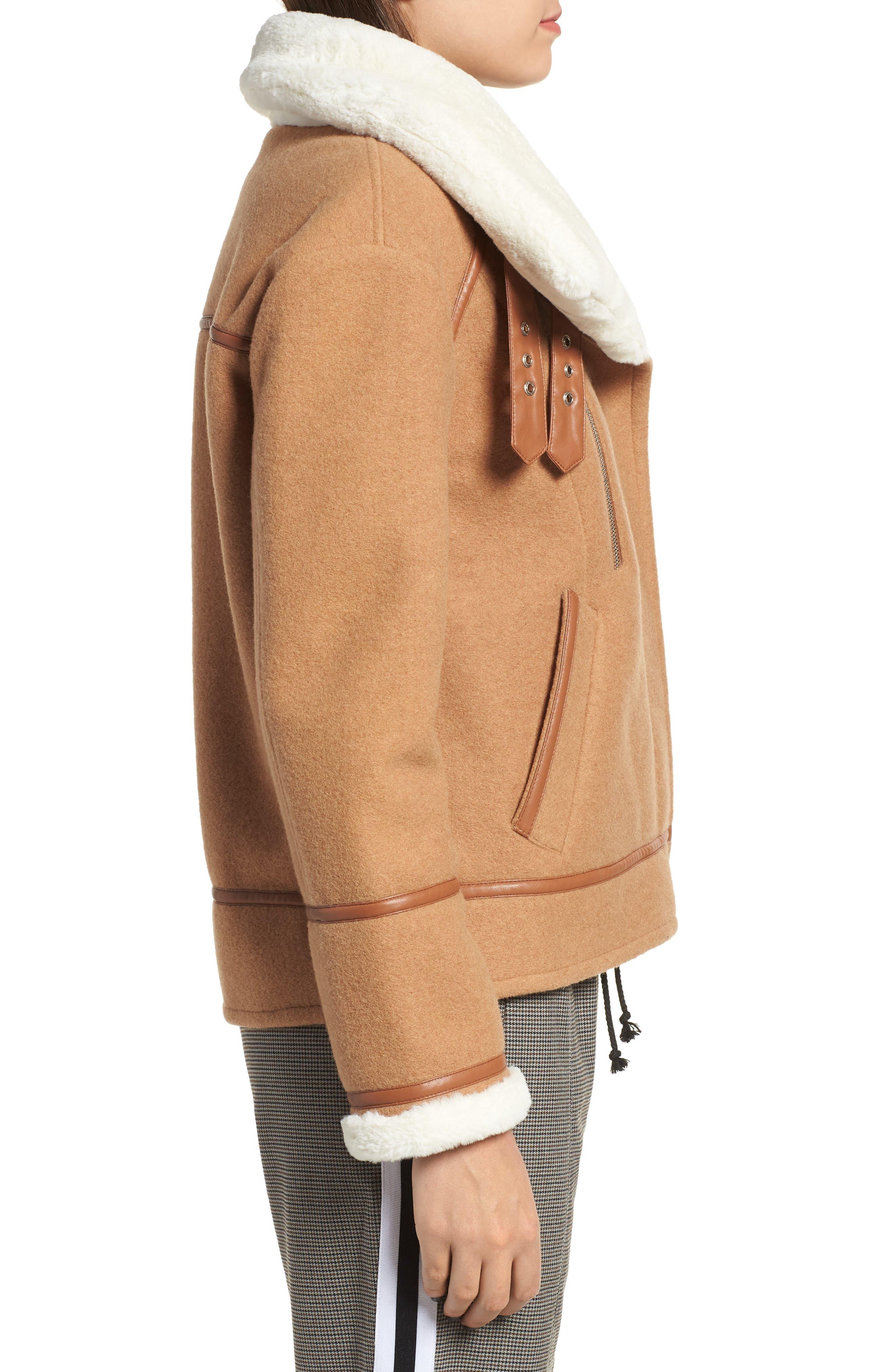 NVLT, Brushed Melton Wool Blend Jacket, Alternate thumbnail 4, color, CAMEL/ CREAM