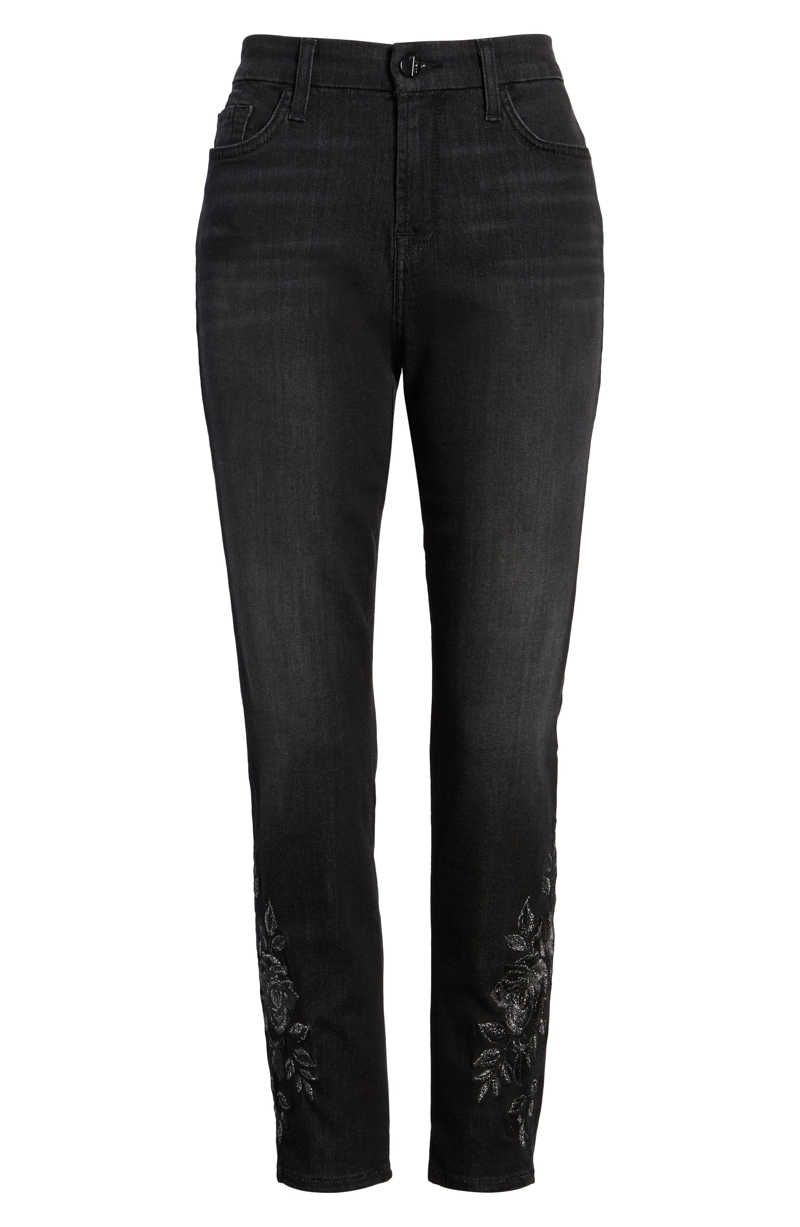 JEN7 BY 7 FOR ALL MANKIND, Embroidered Ankle Skinny Jeans, Alternate thumbnail 7, color, RICHE TOUCH AGED BLACK