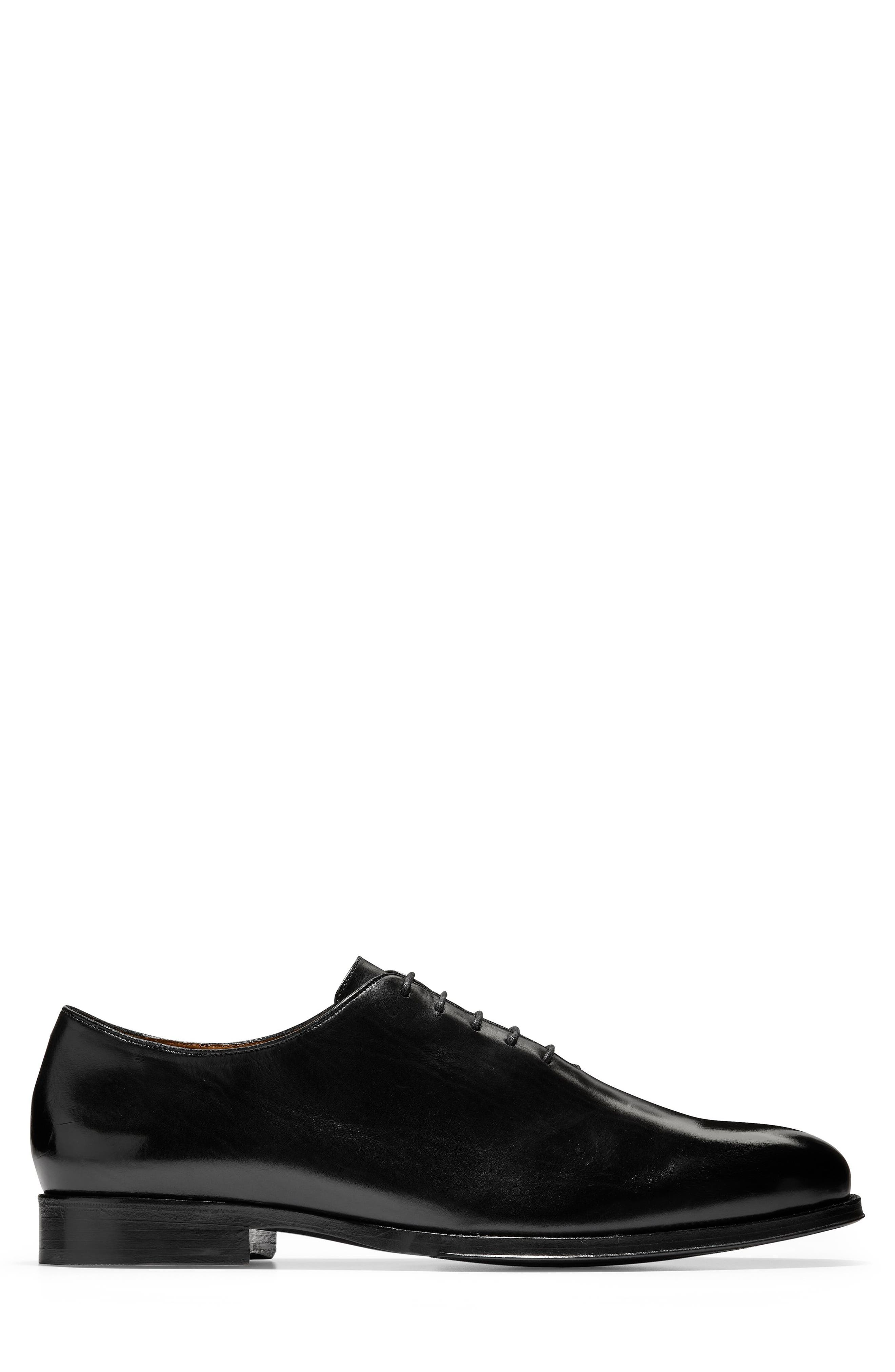 COLE HAAN, American Classics Gramercy Whole Cut Shoe, Alternate thumbnail 3, color, BLACK LEATHER