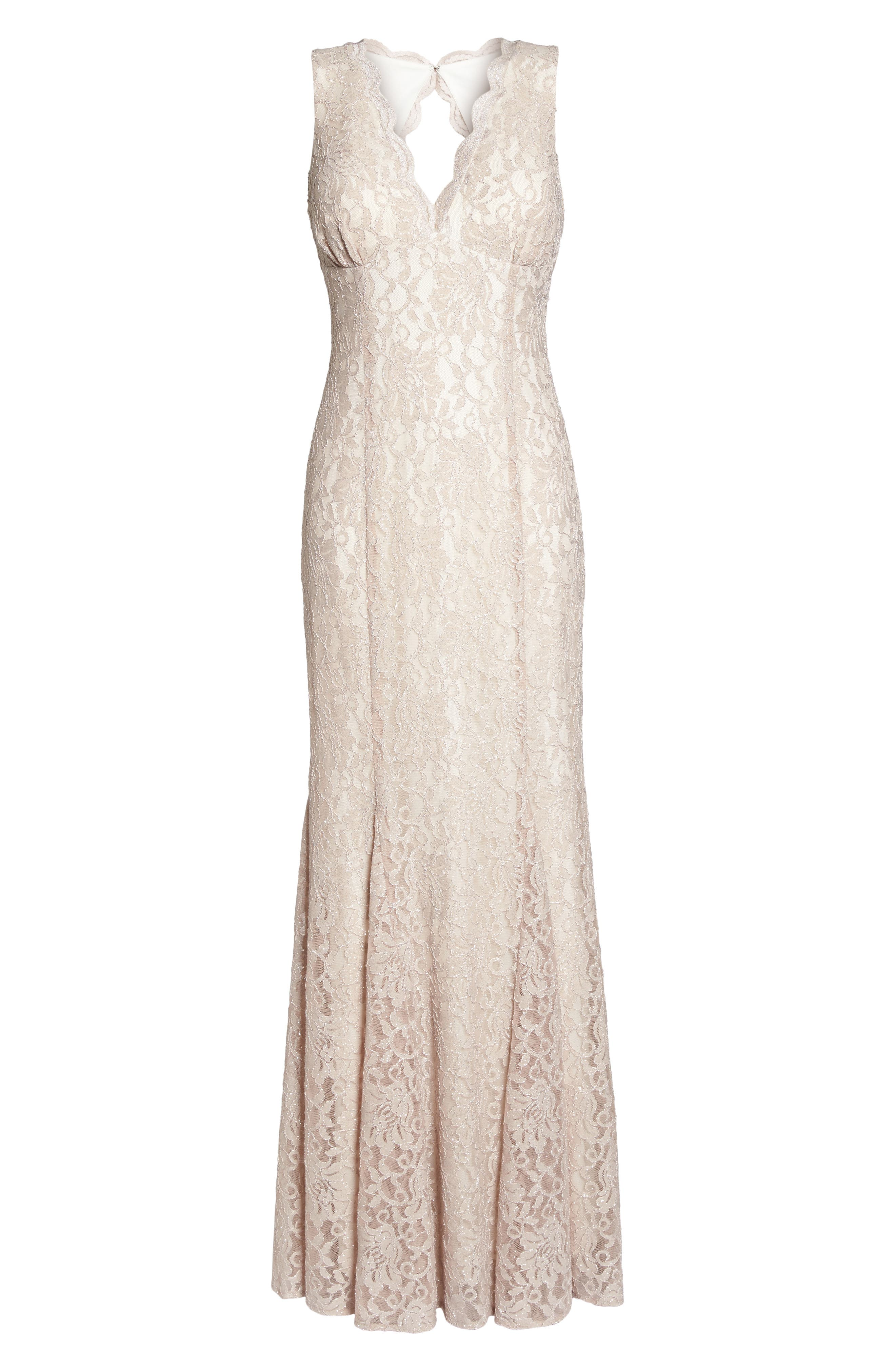 MORGAN & CO., Glitter Lace Trumpet Dress, Alternate thumbnail 6, color, CHAMPAGNE / IVORY