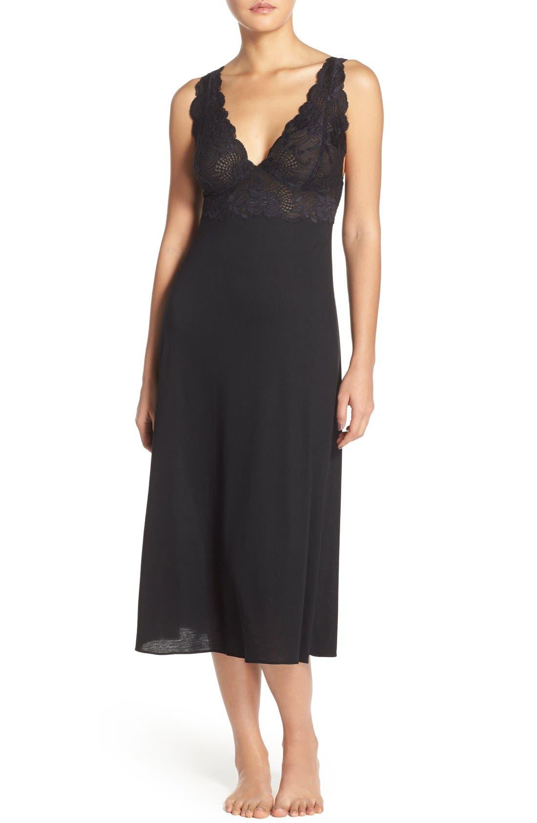 NATORI, 'Zen Floral' Nightgown, Main thumbnail 1, color, BLACK