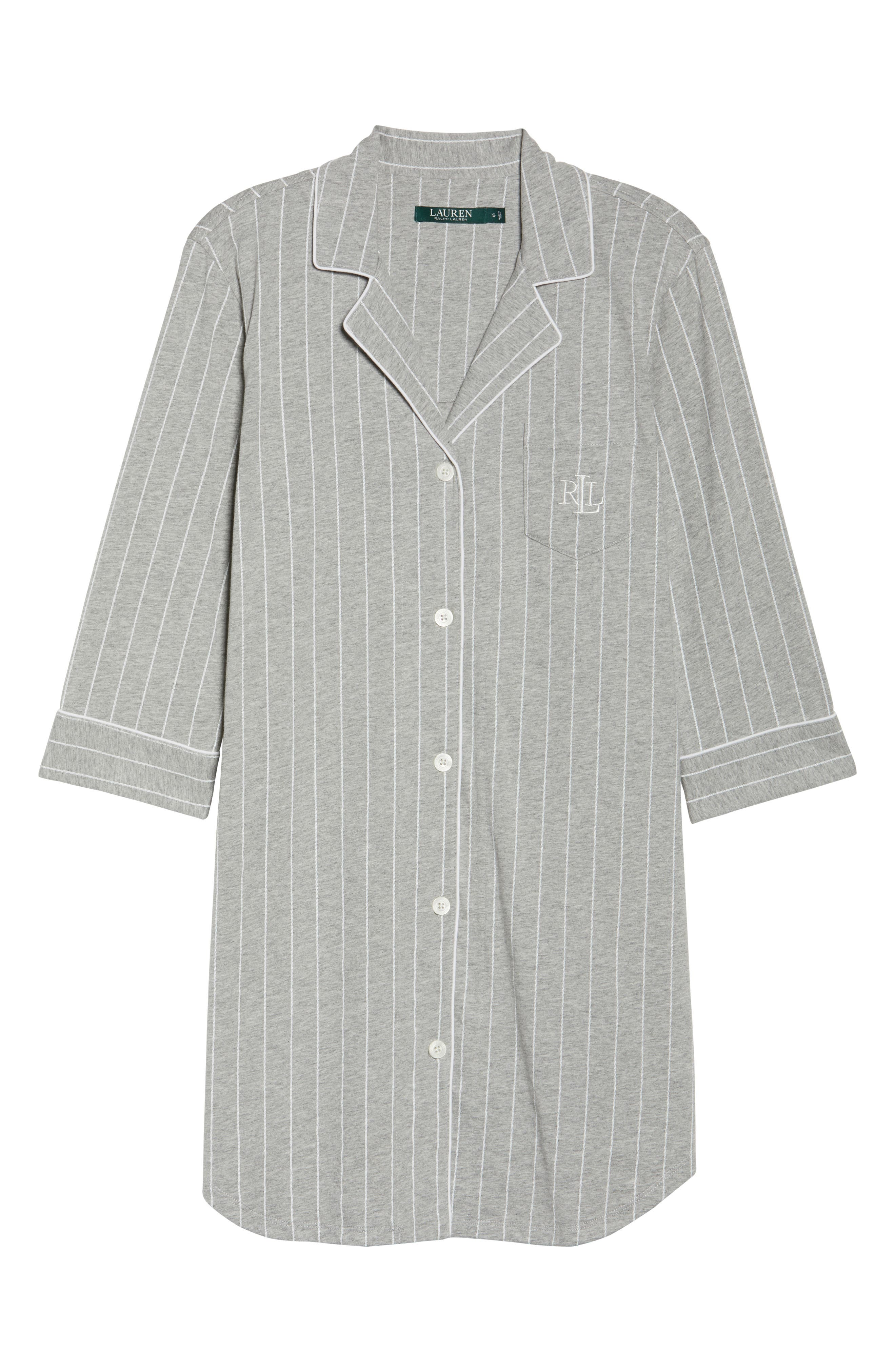 LAUREN RALPH LAUREN, Jersey Sleep Shirt, Alternate thumbnail 6, color, GREYSTONE