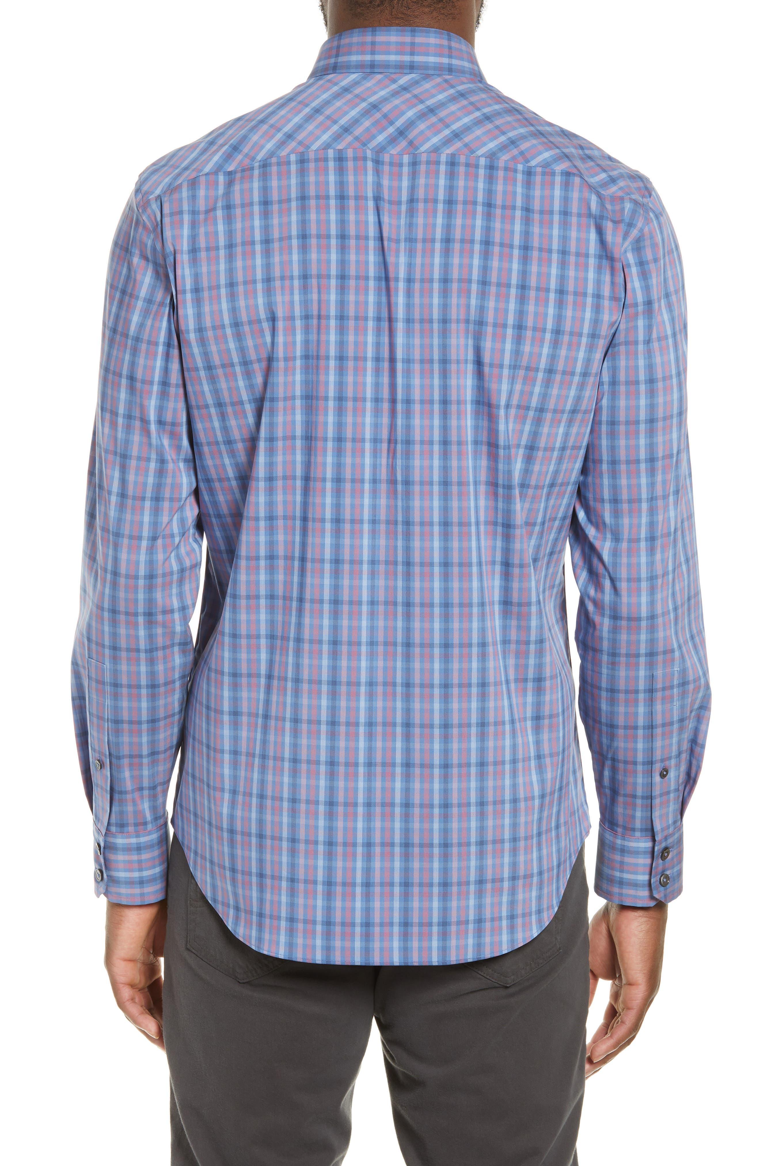 ZACHARY PRELL, Guastella Regular Fit Sport Shirt, Alternate thumbnail 3, color, AZURE