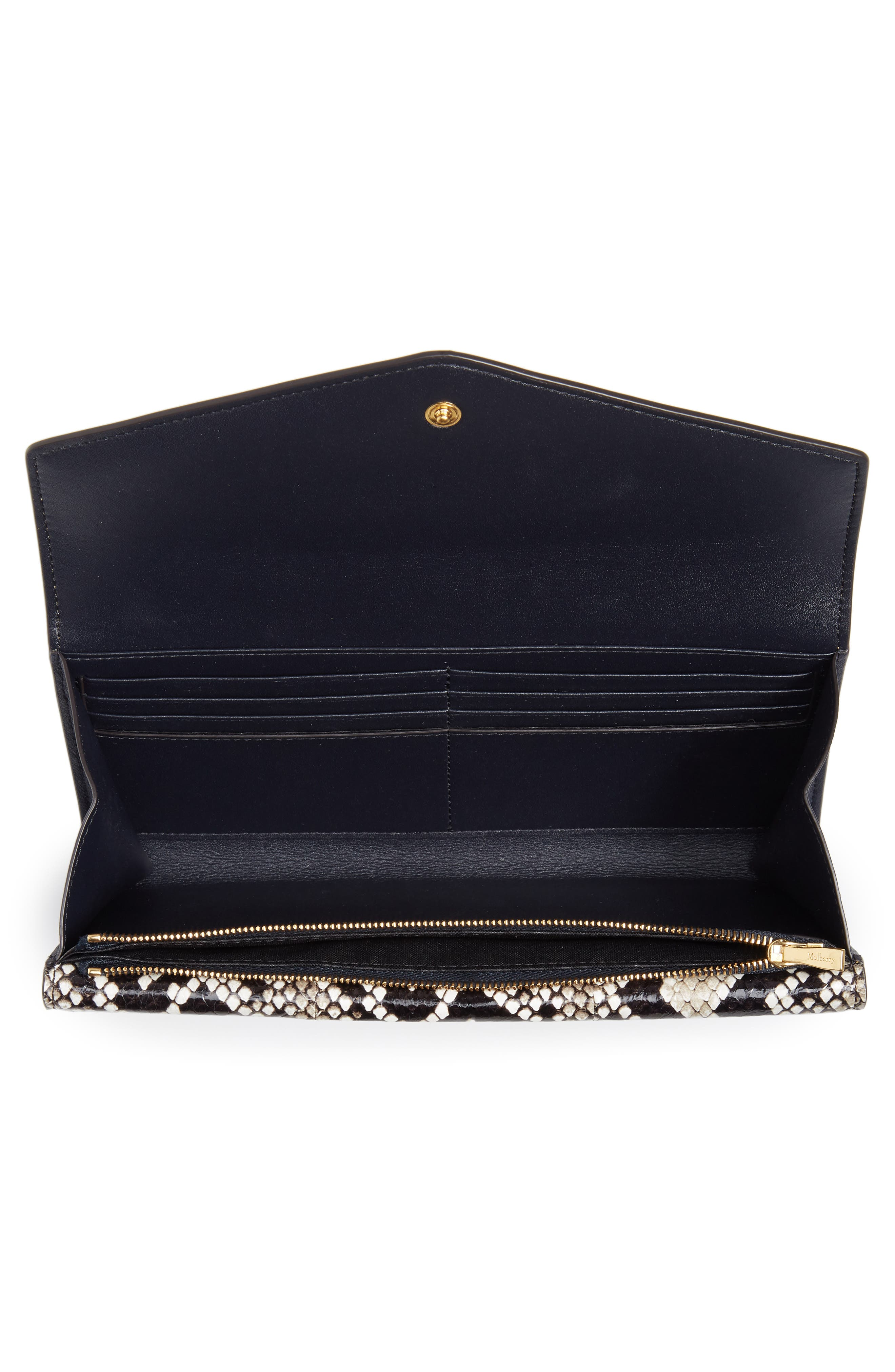 MULBERRY, Mulberrry Harlow Calfskin Leather & Genuine Snakeskin Wallet, Alternate thumbnail 4, color, MAIZE YELLOW/ MIDNIGHT
