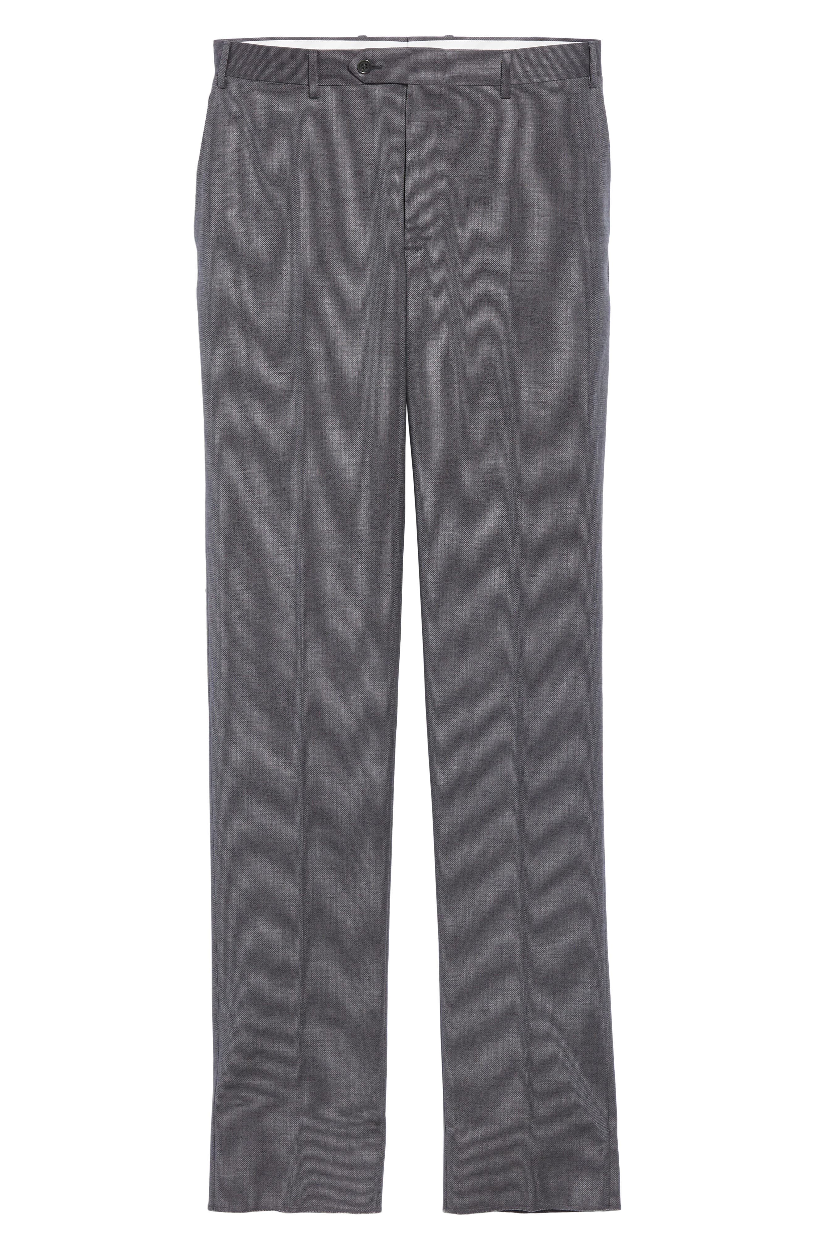 CANALI, Flat Front Solid Wool Trousers, Alternate thumbnail 6, color, CHARCOAL