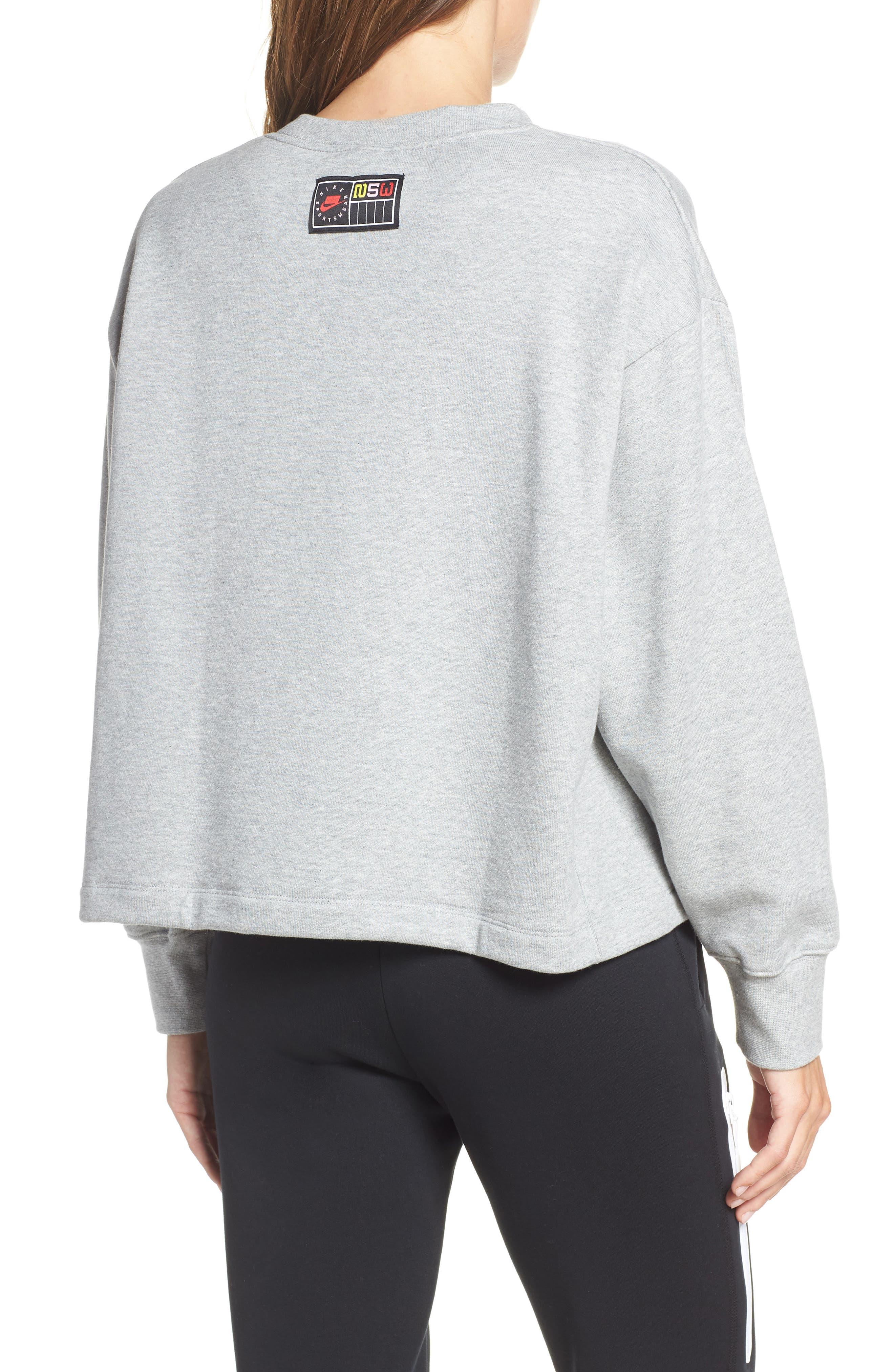 NIKE, Sportswear Logo Oversize Sweatshirt, Alternate thumbnail 2, color, DARK GREY HEATHER