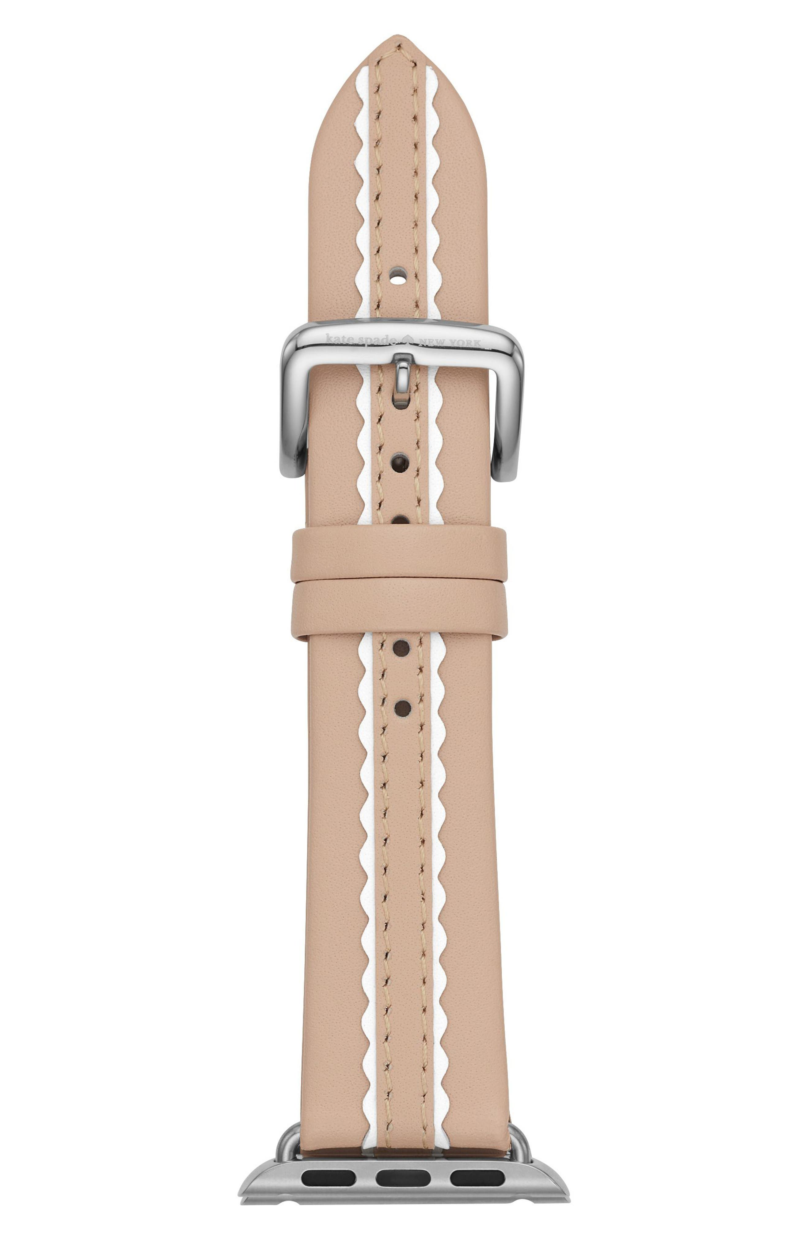 KATE SPADE NEW YORK, Apple Watch strap, 38mm, Main thumbnail 1, color, NUDE/ WHITE