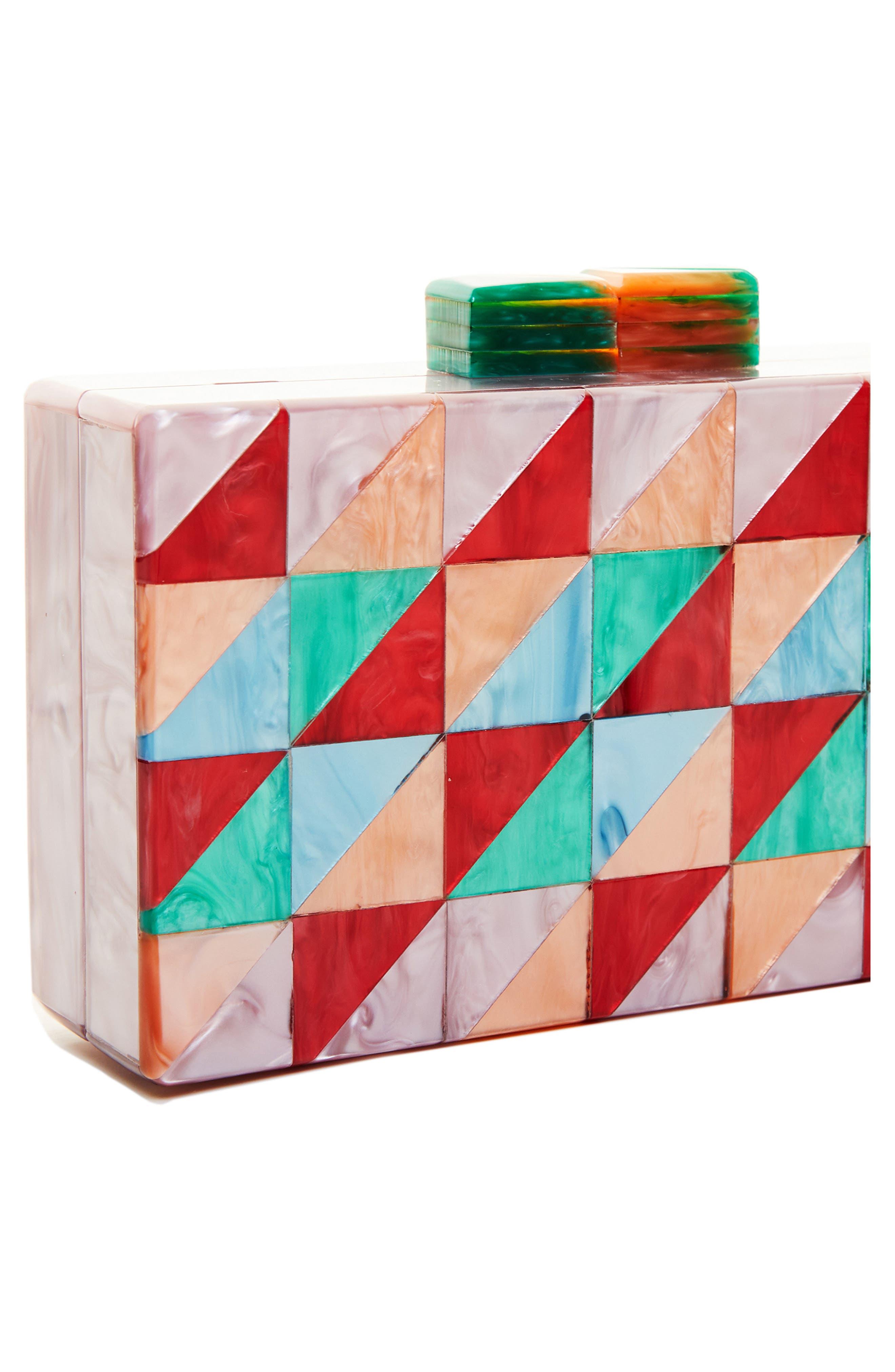 LIKE DREAMS, Geometric Box Clutch, Alternate thumbnail 5, color, MULTI