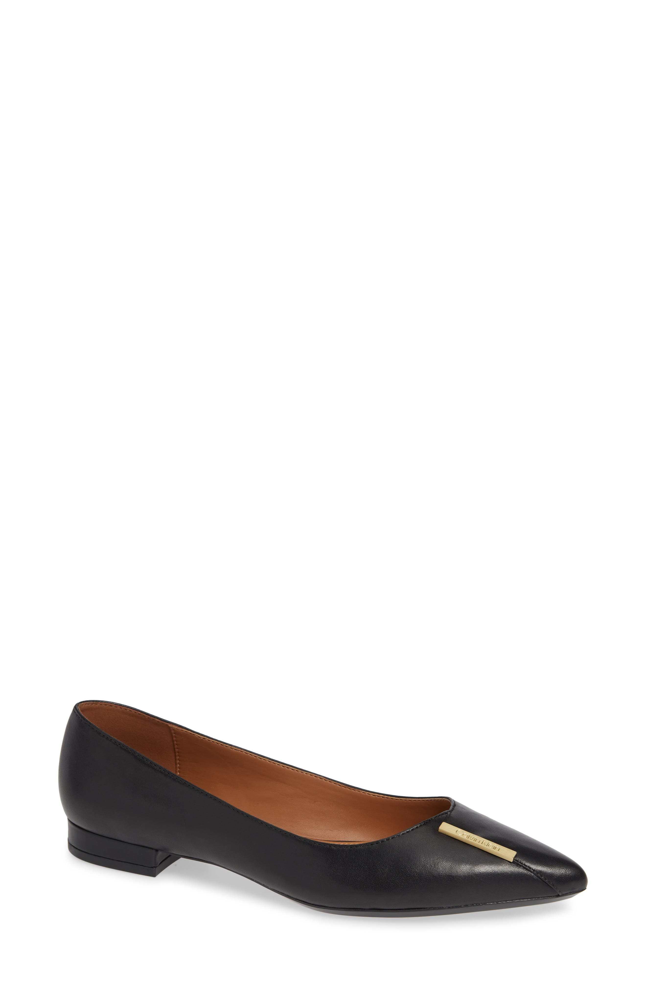 CALVIN KLEIN Arline Pointy Toe Flat, Main, color, BLACK LEATHER