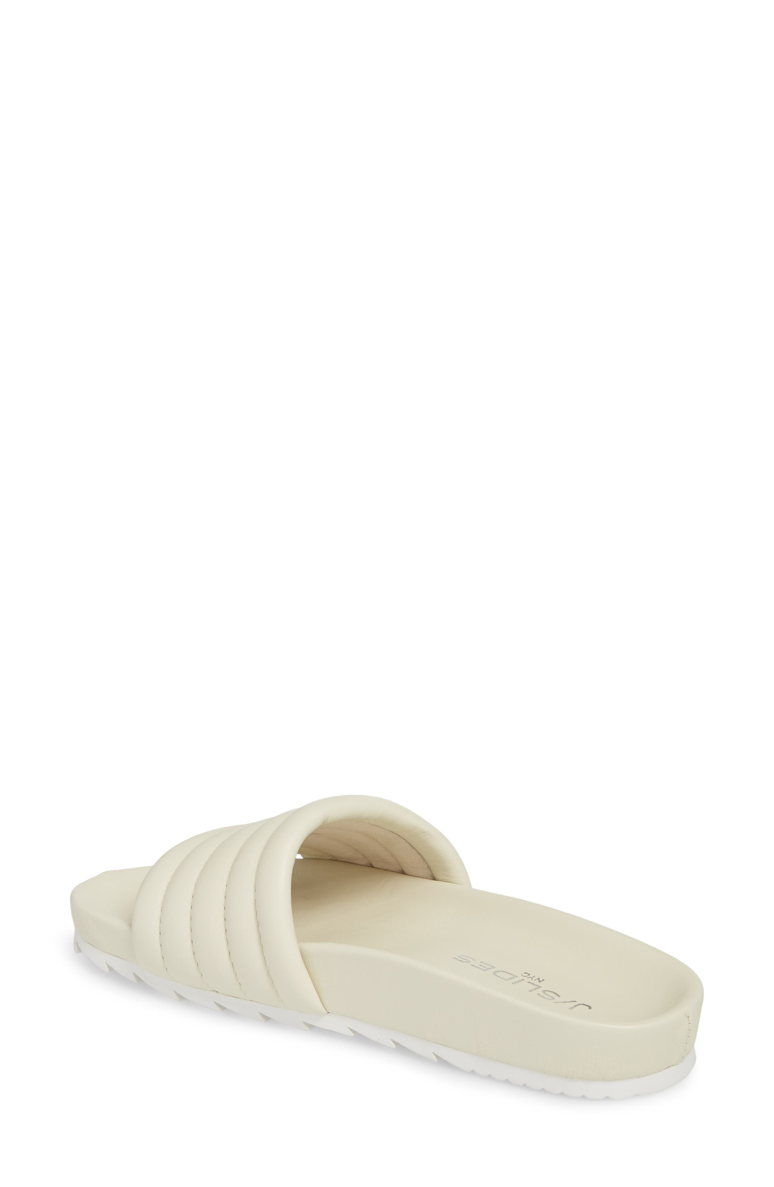 JSLIDES, Eppie Slide Sandal, Alternate thumbnail 2, color, OFF WHITE LEATHER