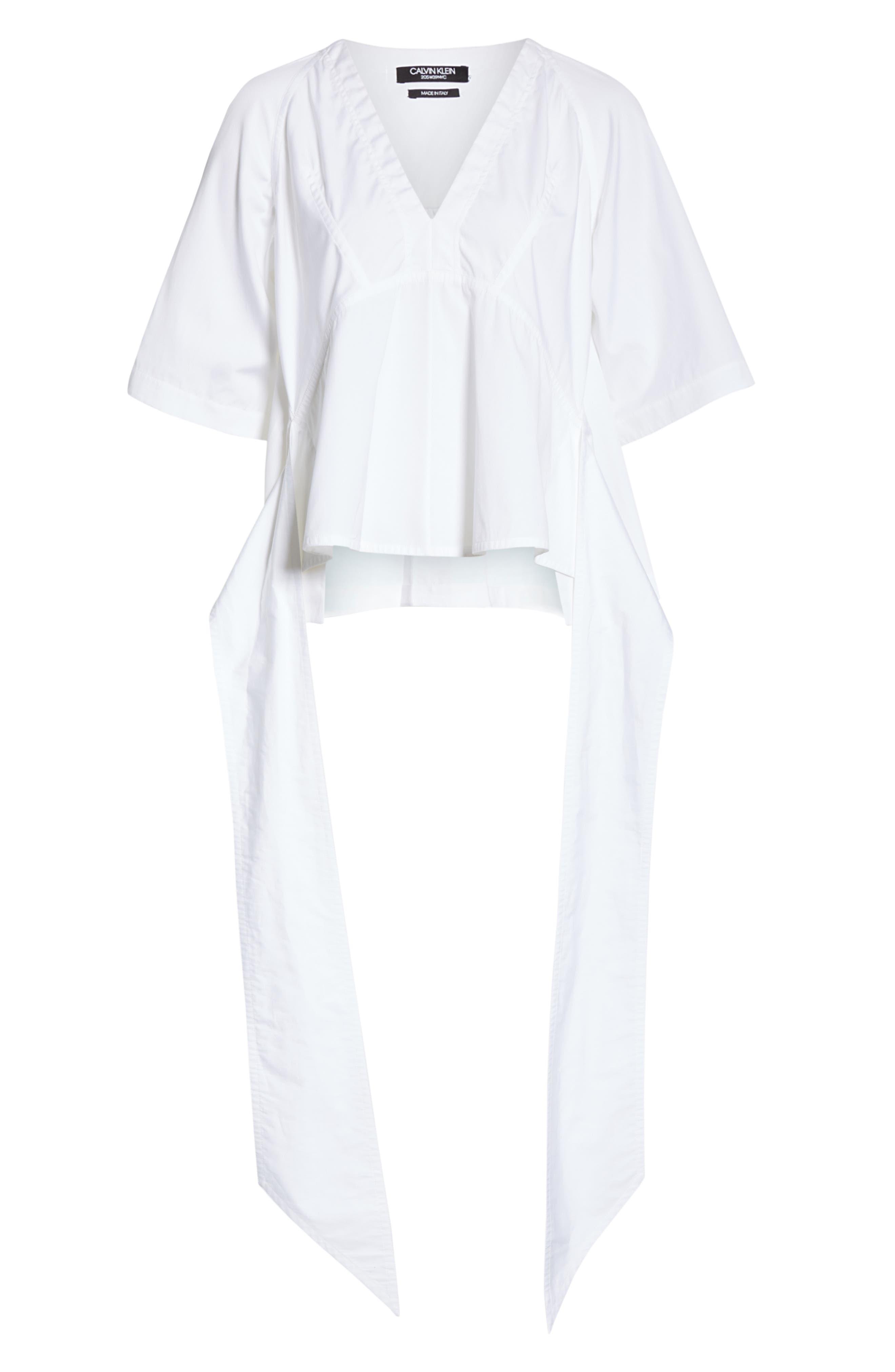 CALVIN KLEIN 205W39NYC, Sash Detail Cotton Poplin Top, Alternate thumbnail 7, color, OPTIC WHITE